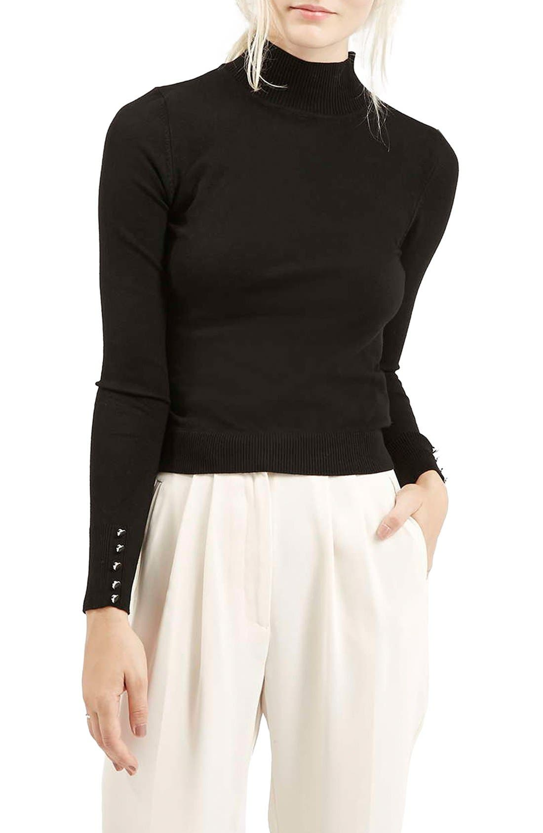Alternate Image 1 Selected - Topshop Funnel Neck Long Sleeve Top