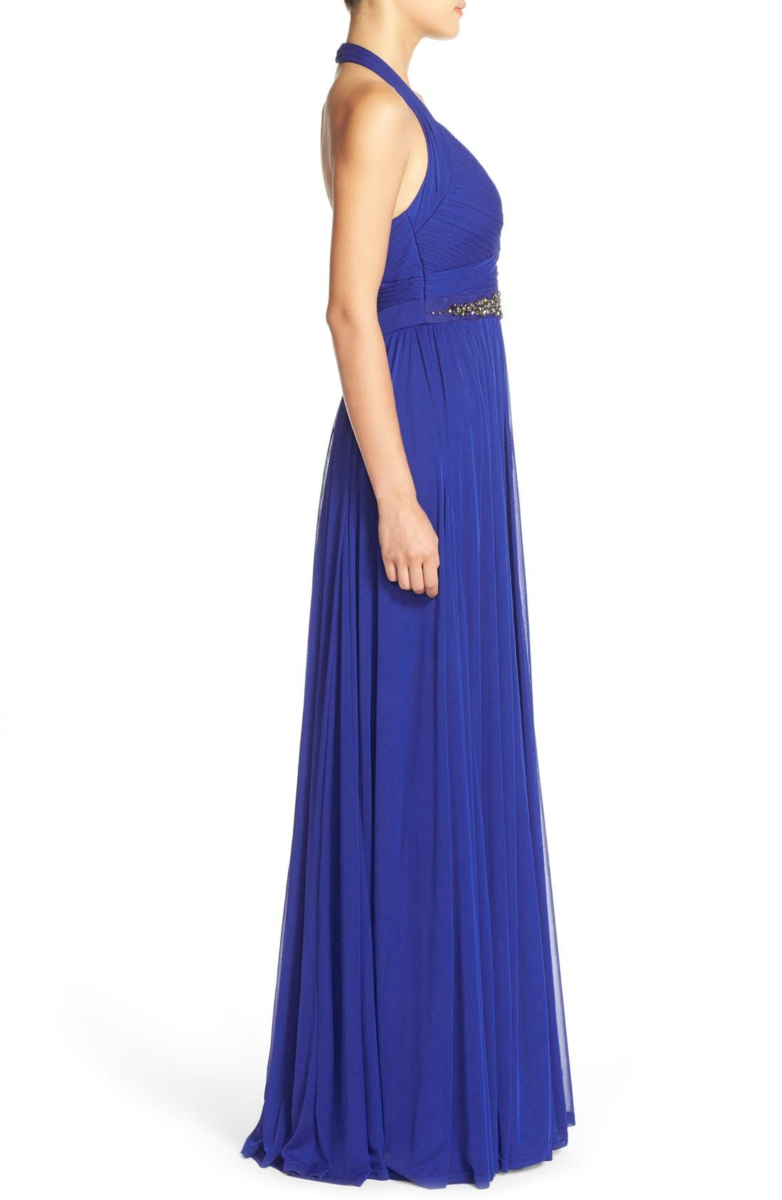 Embellished Tulle Halter Gown,                             Alternate thumbnail 3, color,                             Neptune
