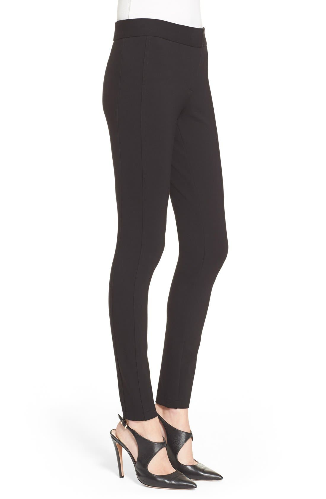 Armani Collezioni Double Face Jersey Leggings,                             Alternate thumbnail 6, color,                             Black