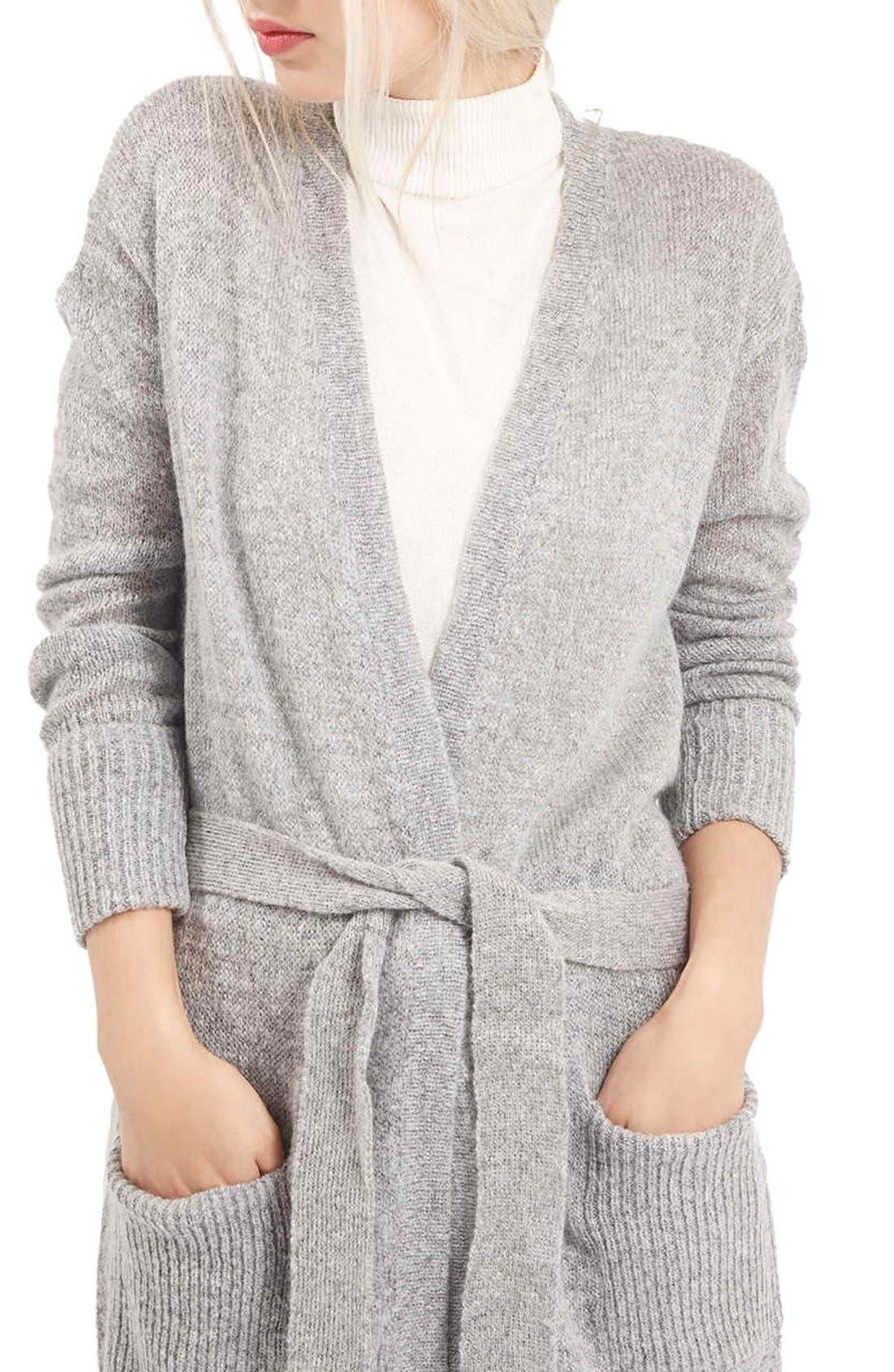 'Lulu' Belted Longline Cardigan,                             Alternate thumbnail 4, color,                             Light Grey