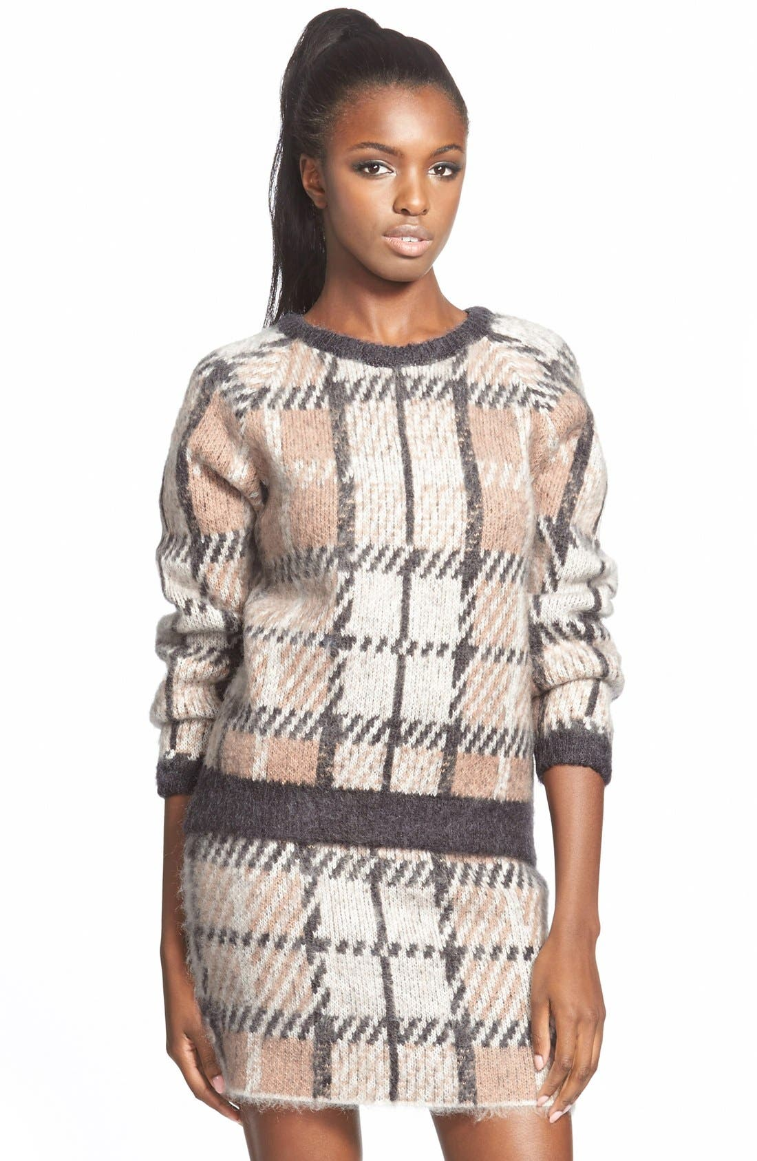 Alternate Image 1 Selected - J.O.A. Plaid Crewneck Sweater