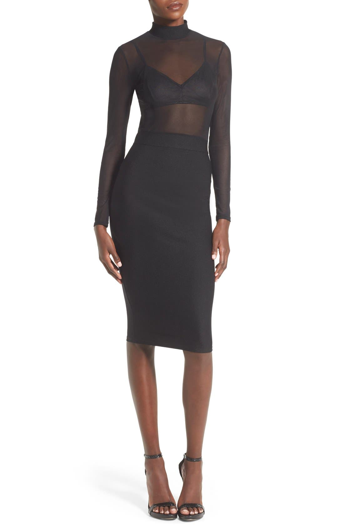 Alternate Image 1 Selected - Missguided Mesh Top Body-Con Dress