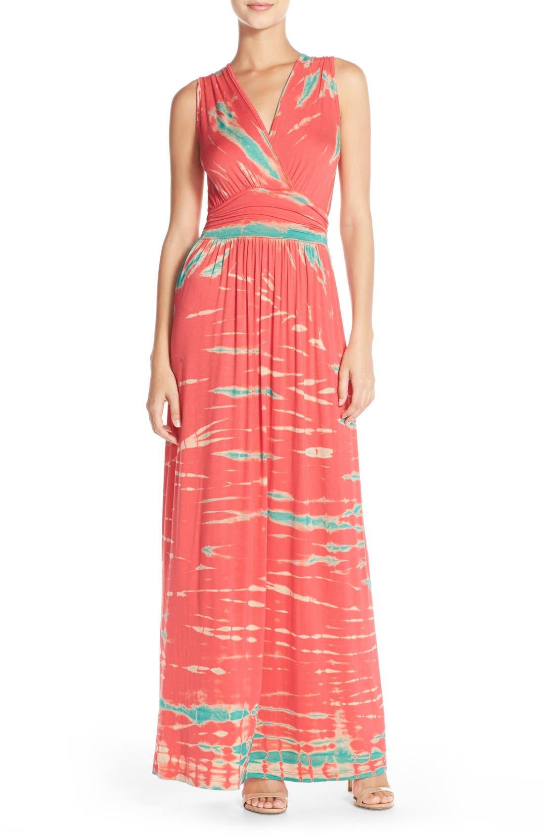 Tie Dye Ombré Jersey Maxi Dress,                         Main,                         color, Pink/ Mint Special