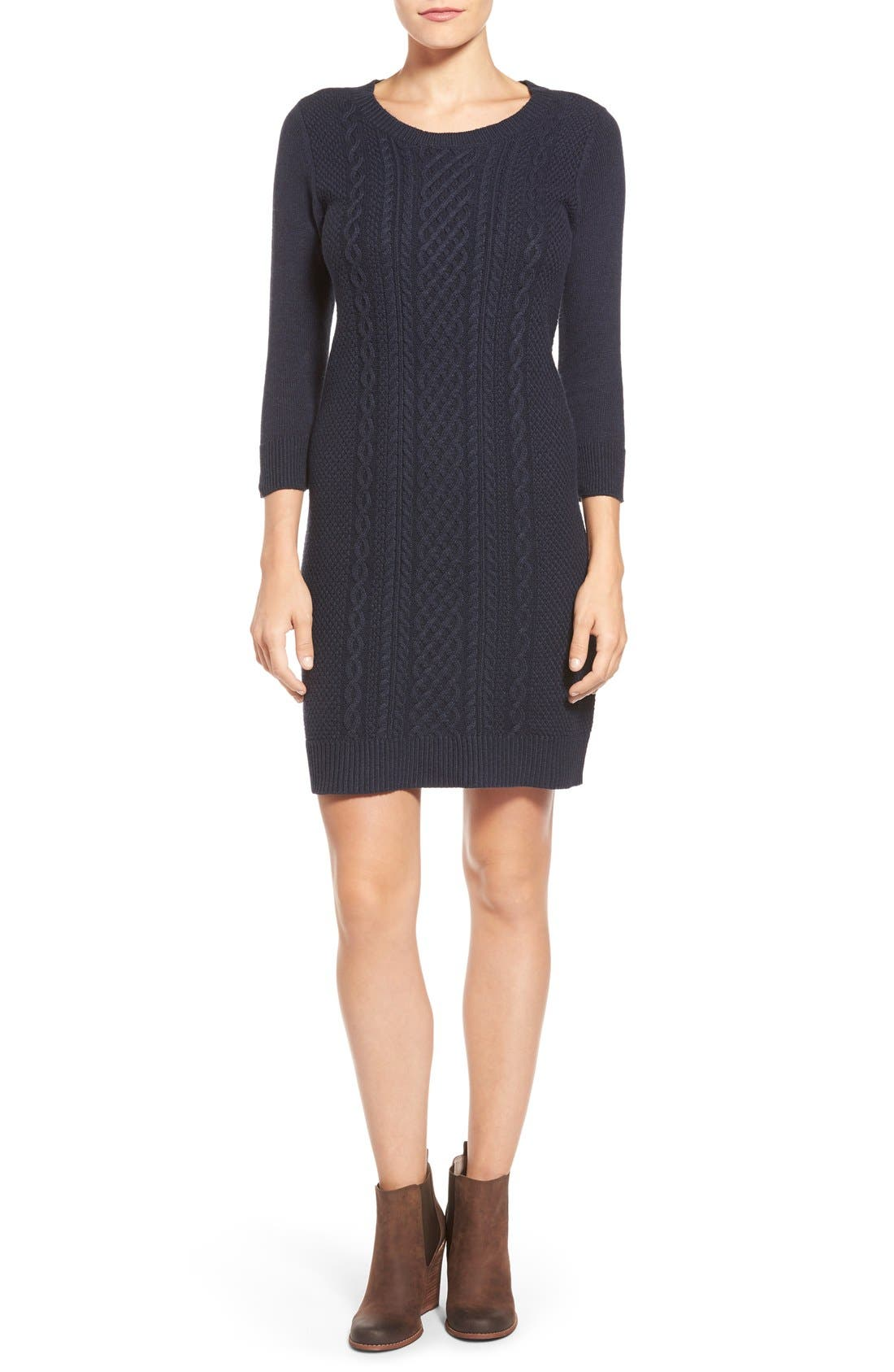 Cable Knit Sweater Dress,                             Main thumbnail 1, color,                             Heather Navy Sapphire