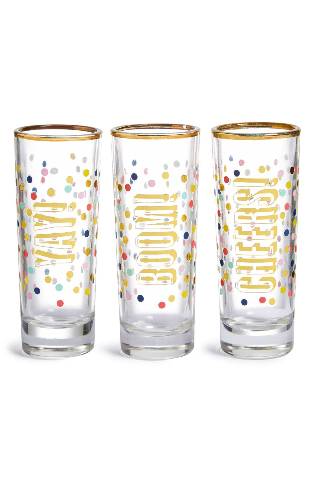 Alternate Image 1 Selected - Slant Collections 'Yay, Boom, Cheers' Shot Glasses (Set of 3)