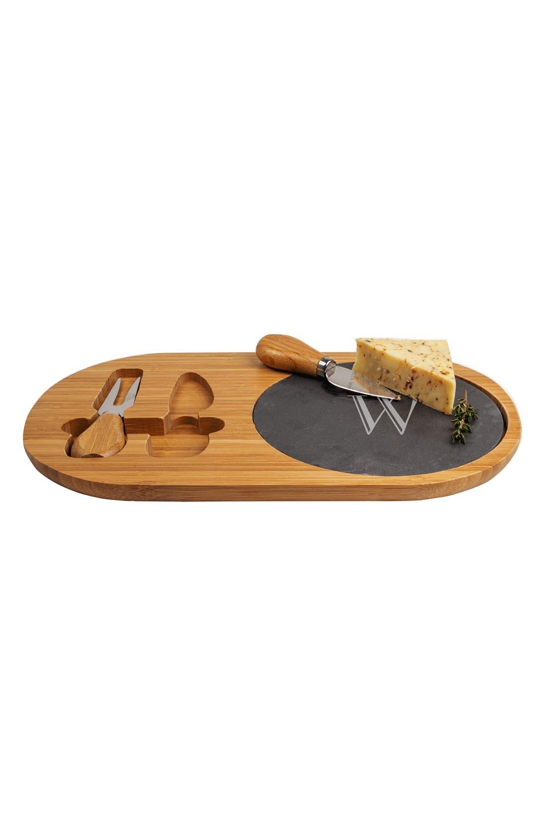 Monogram Cheese Board & Utensils,                             Alternate thumbnail 3, color,