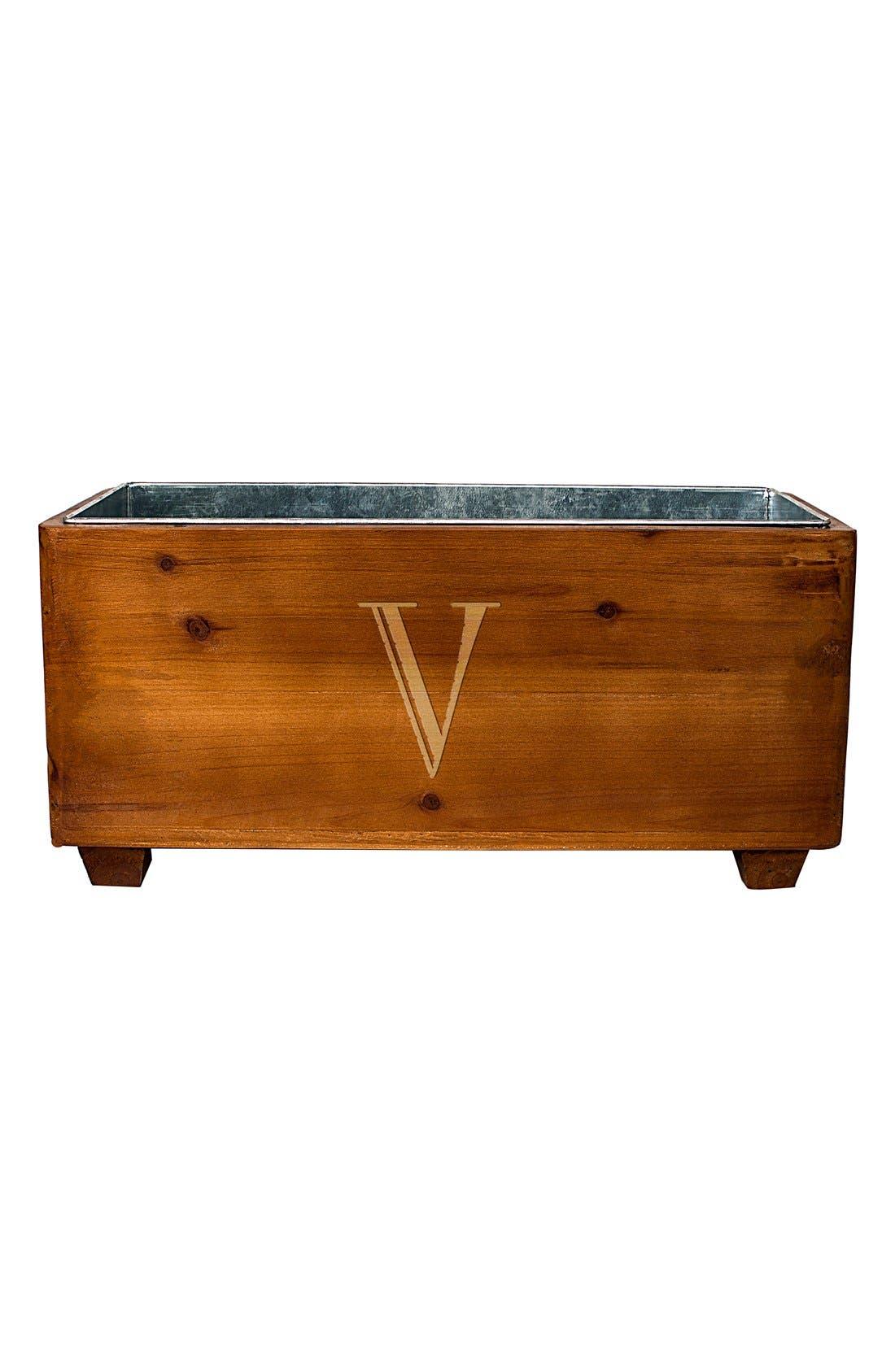 Monogram Wood Wine Trough,                             Main thumbnail 1, color,                             V