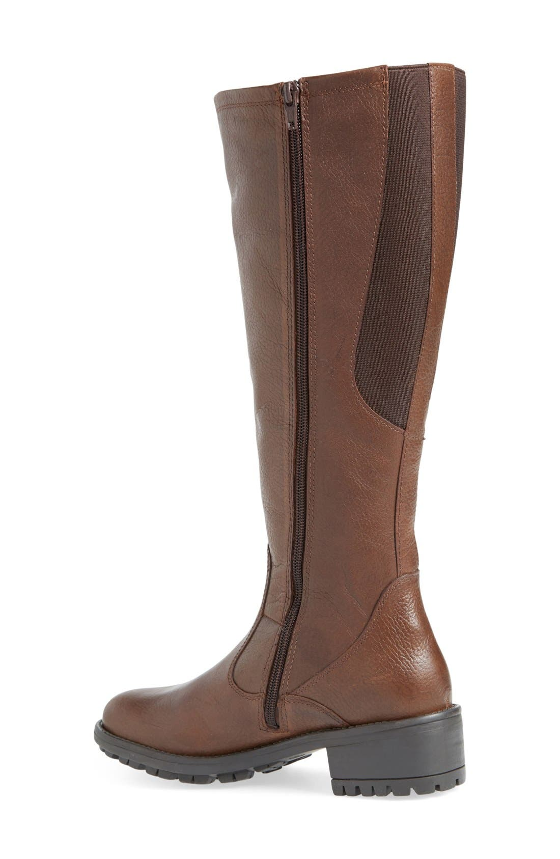'Andrea' Waterproof Boot,                             Alternate thumbnail 3, color,                             Brown Pebbled Leather Regular