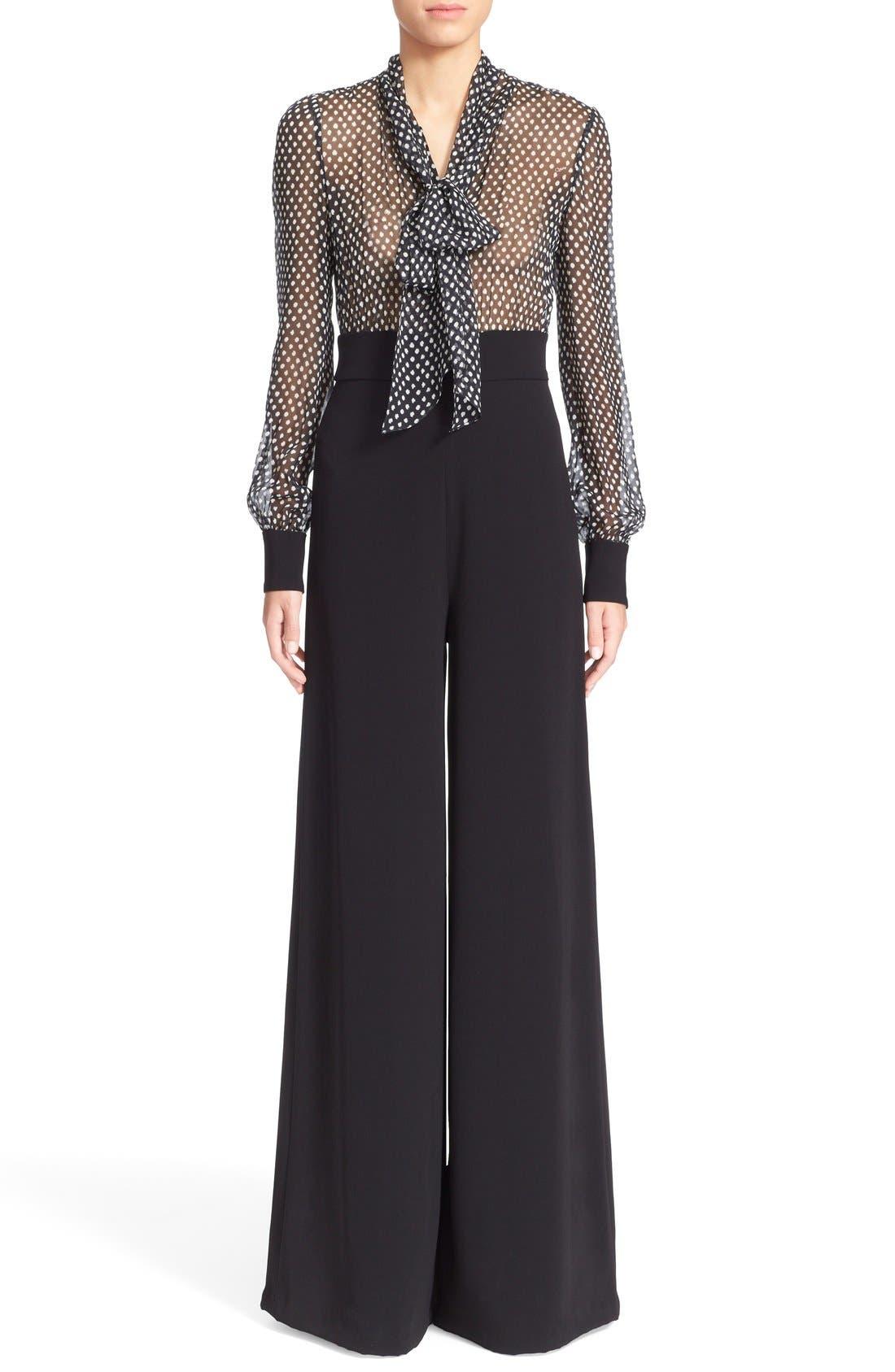 Main Image - Diane von Furstenberg 'Arabella' Polka Dot Silk Jumpsuit