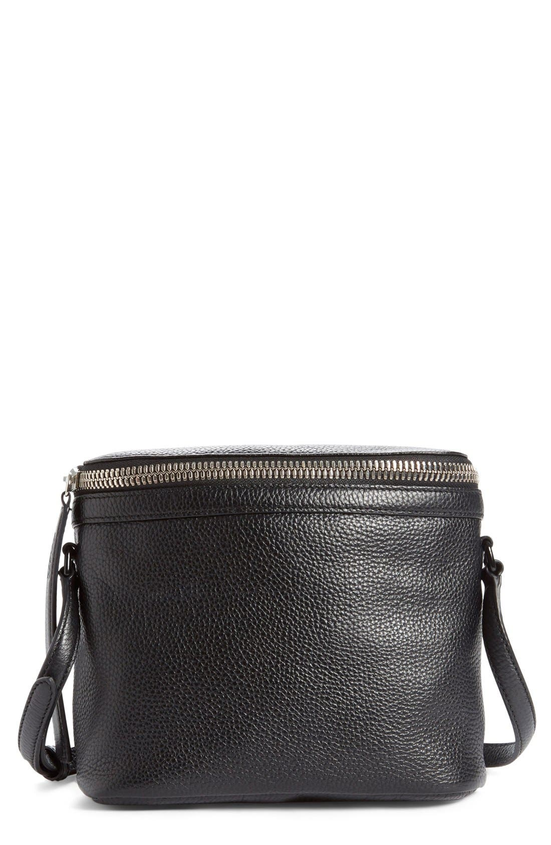 Large Stowaway Leather Crossbody Bag,                         Main,                         color, Black