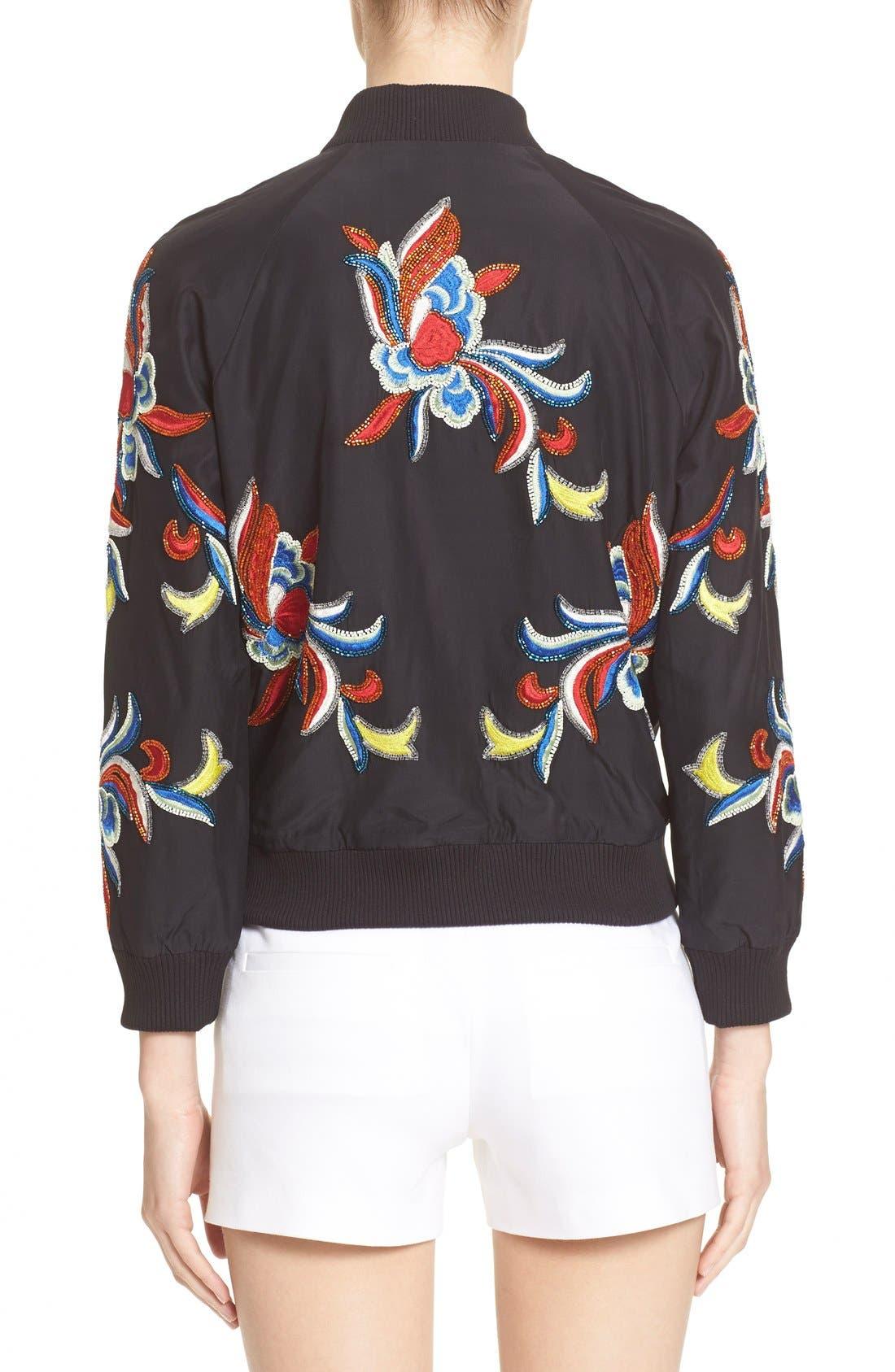 'Felisa' Embellished Silk Bomber Jacket,                             Alternate thumbnail 2, color,                             Black/ Multi
