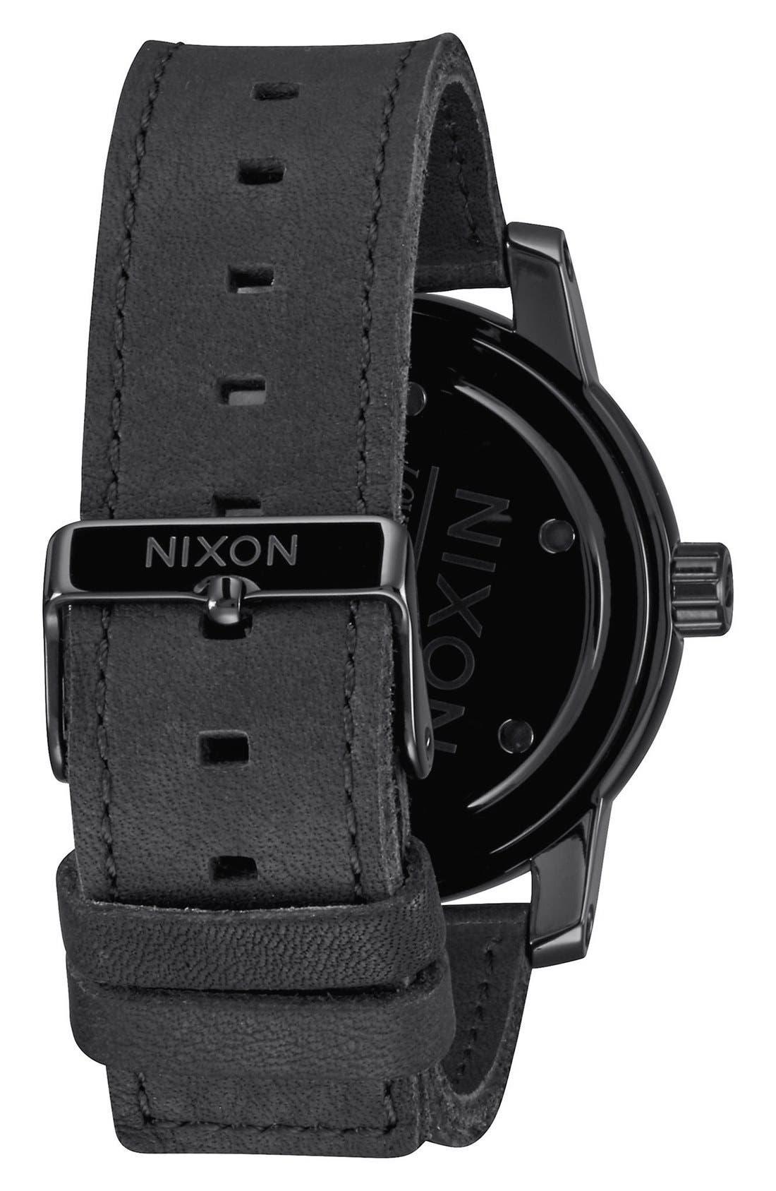 'The Patriot' Leather Strap Watch, 45mm,                             Alternate thumbnail 2, color,                             Black/ Black