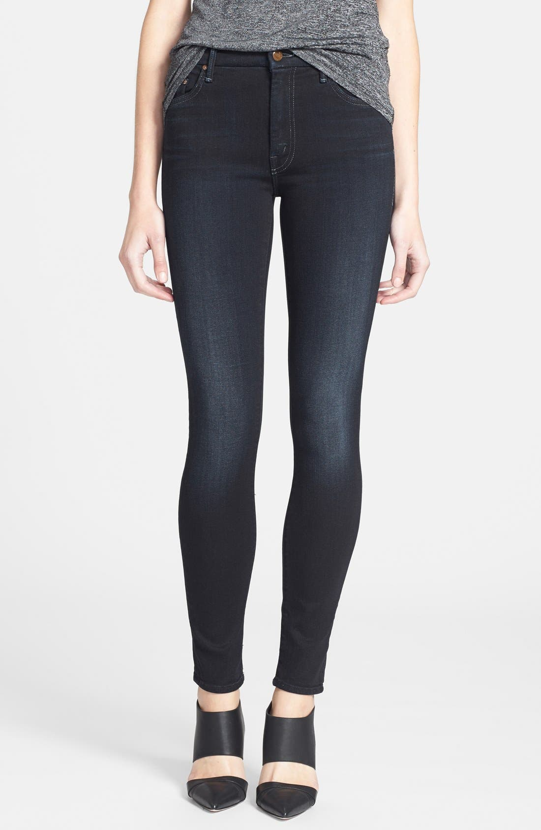'The Looker' High Rise Skinny Jeans,                             Main thumbnail 1, color,                             Coffee Tea Or Me