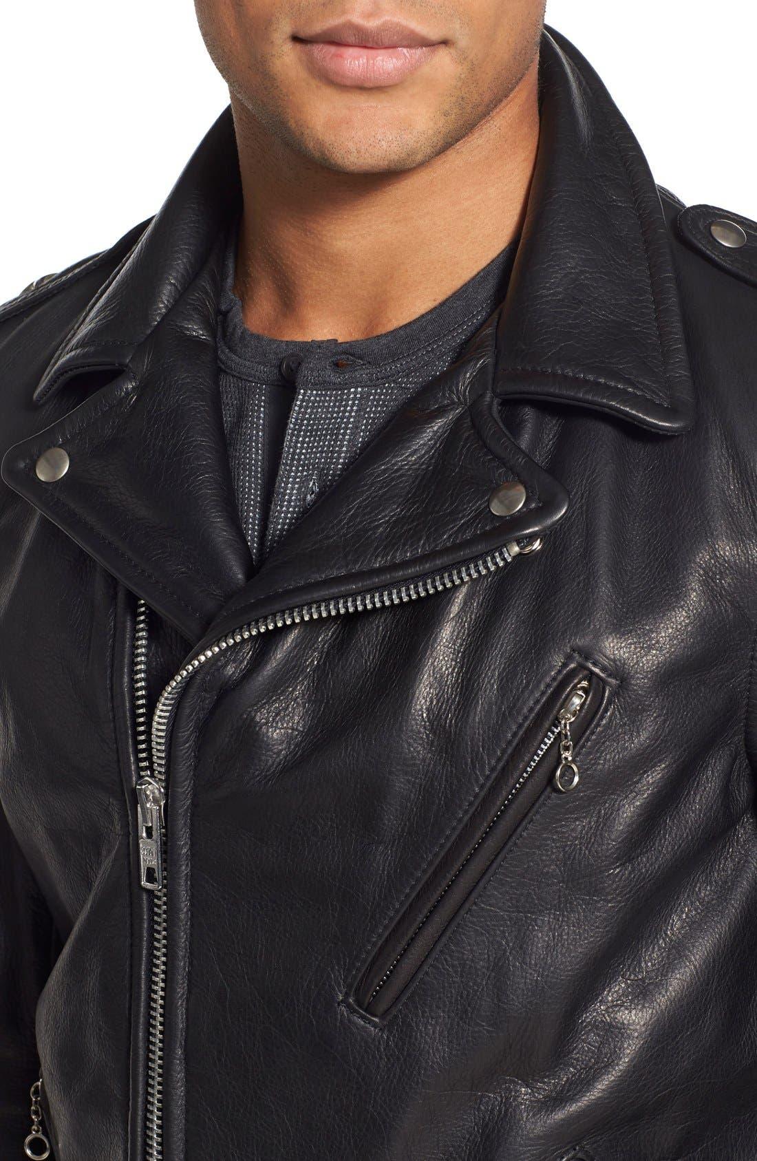 Alternate Image 4  - Schott NYC Perfecto Slim Fit Waxy Leather Moto Jacket