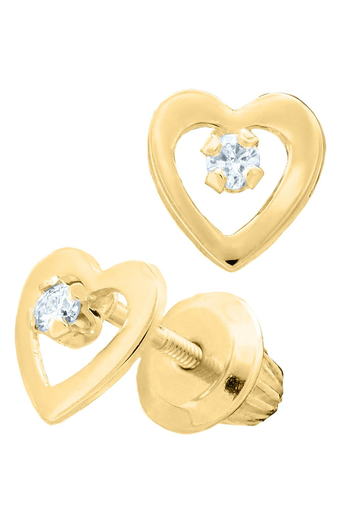 Alternate Image 2  - Mignonette 14k Yellow Gold & Diamond Open Heart Earrings (Baby Girls)
