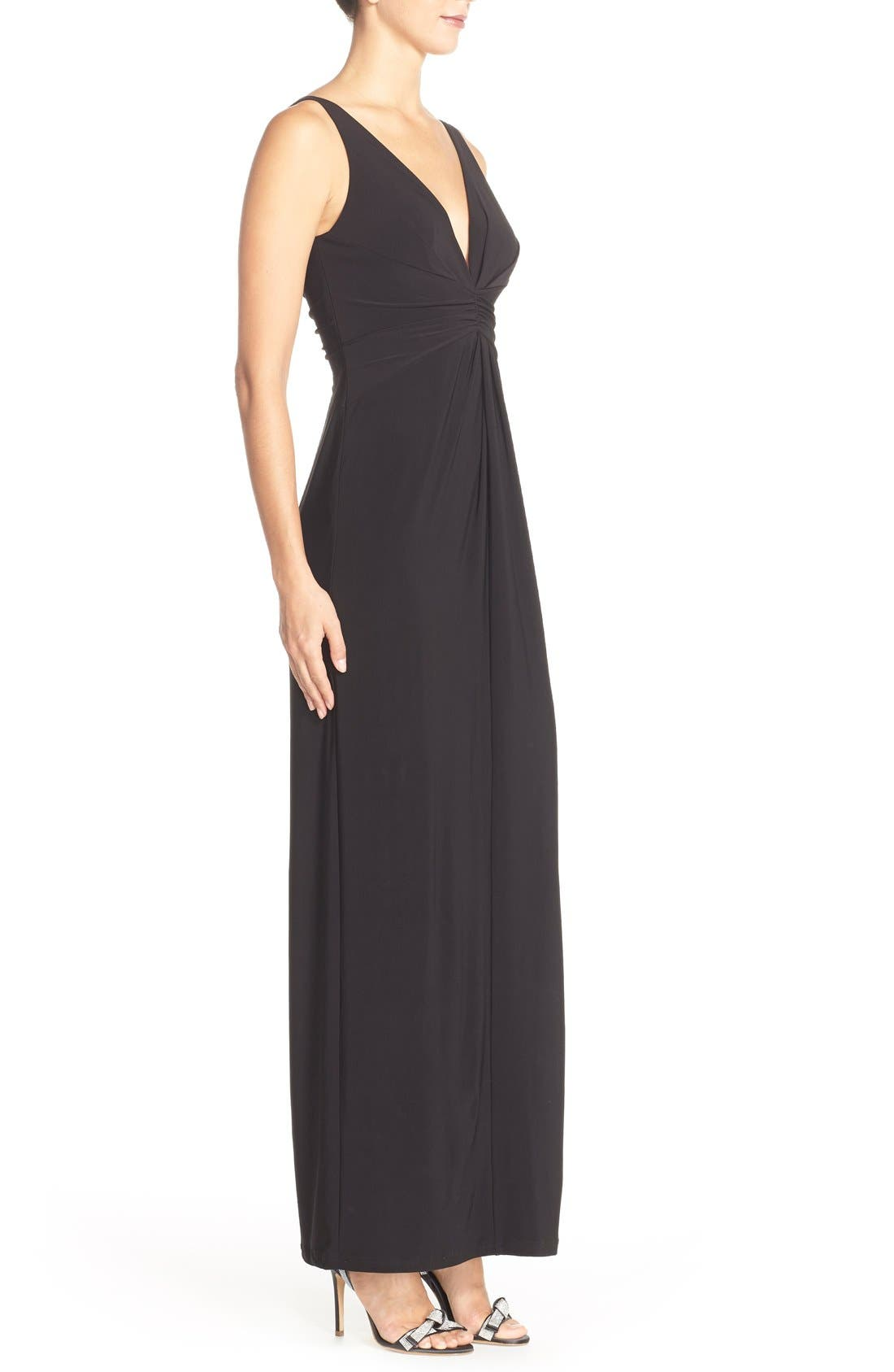 Jersey Fit & Flare Gown,                             Alternate thumbnail 3, color,                             Black