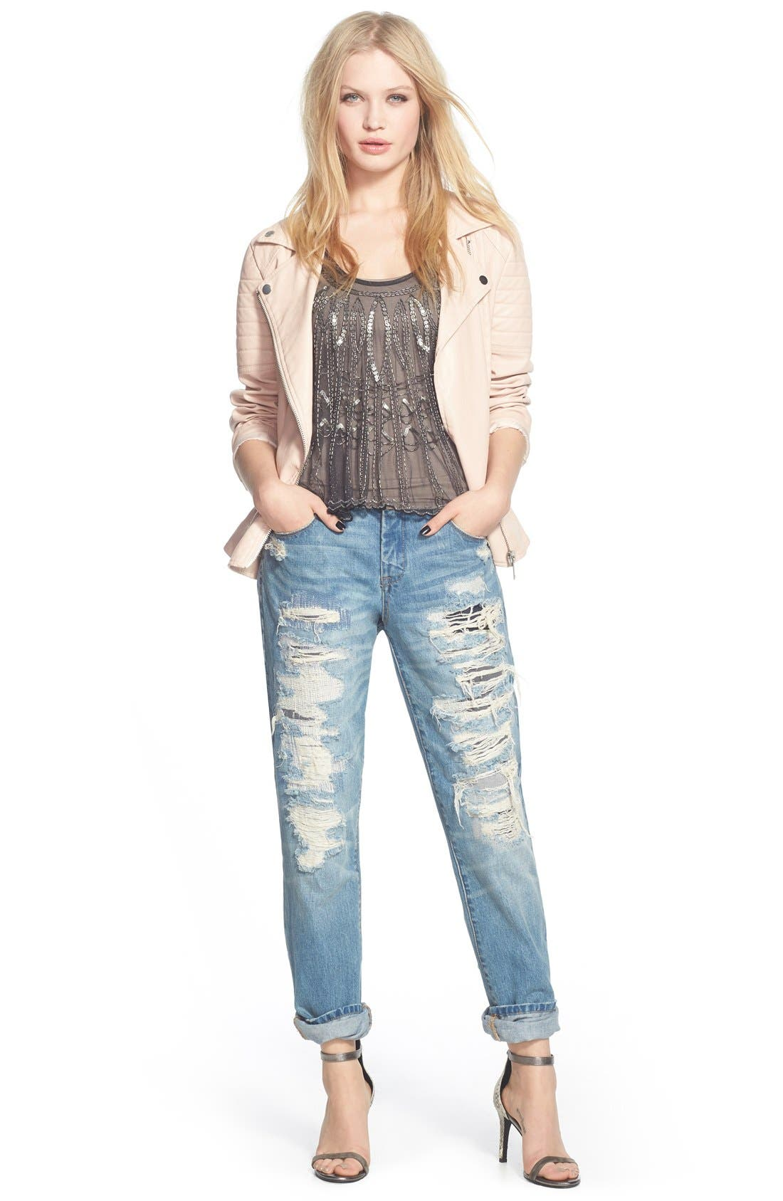 Alternate Image 4  - BLANKNYC Destroyed Boyfriend Jeans (Torn to Shreds)