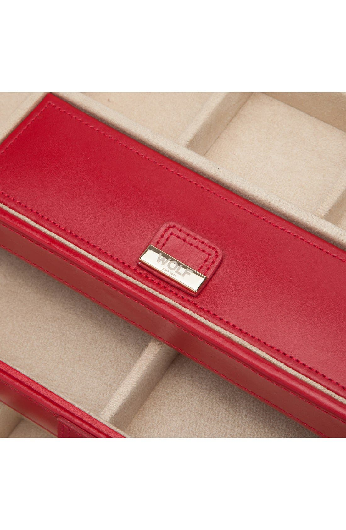 'Caroline' Jewelry Case,                             Alternate thumbnail 5, color,                             Red