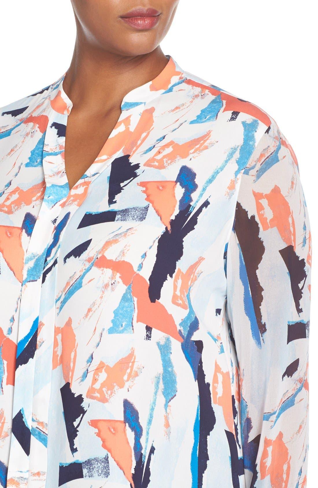 Sheer Sleeve Split Neck Blouse,                             Alternate thumbnail 4, color,                             Blue Abstract Ship Print