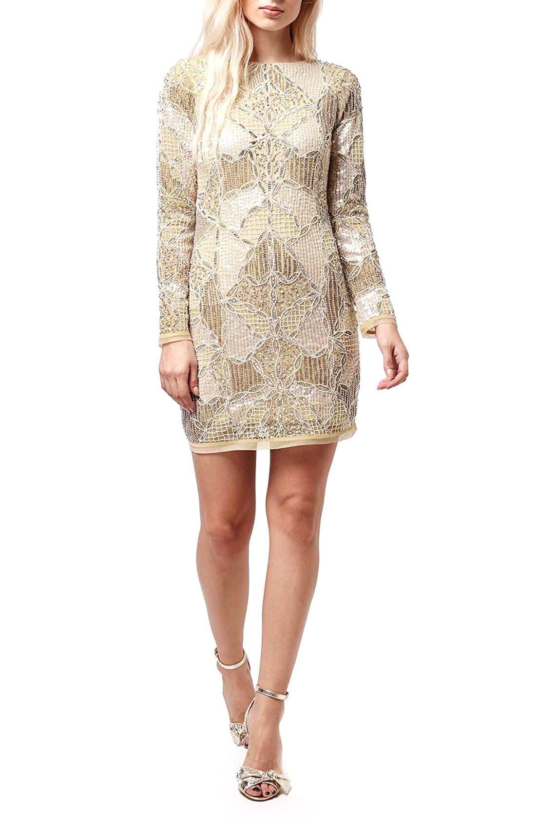 Main Image - Topshop 'Gigi' Embellished Body-Con Dress (Regular & Petite)