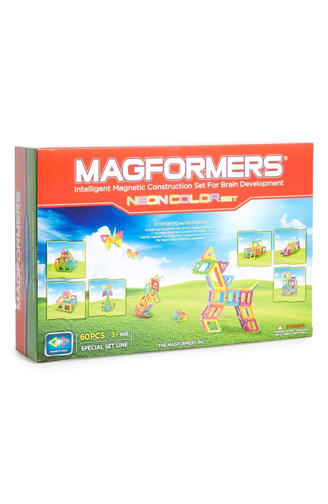 Magnetic 3D Construction Set,                         Main,                         color, Neon