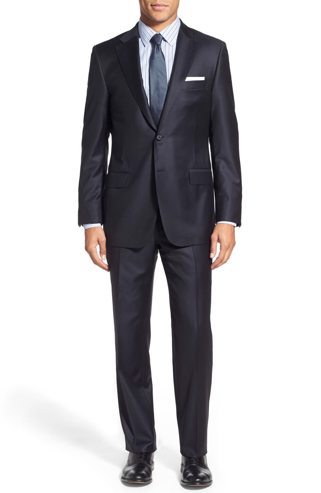 Classic B Fit Solid Wool Suit,                         Main,                         color, Navy