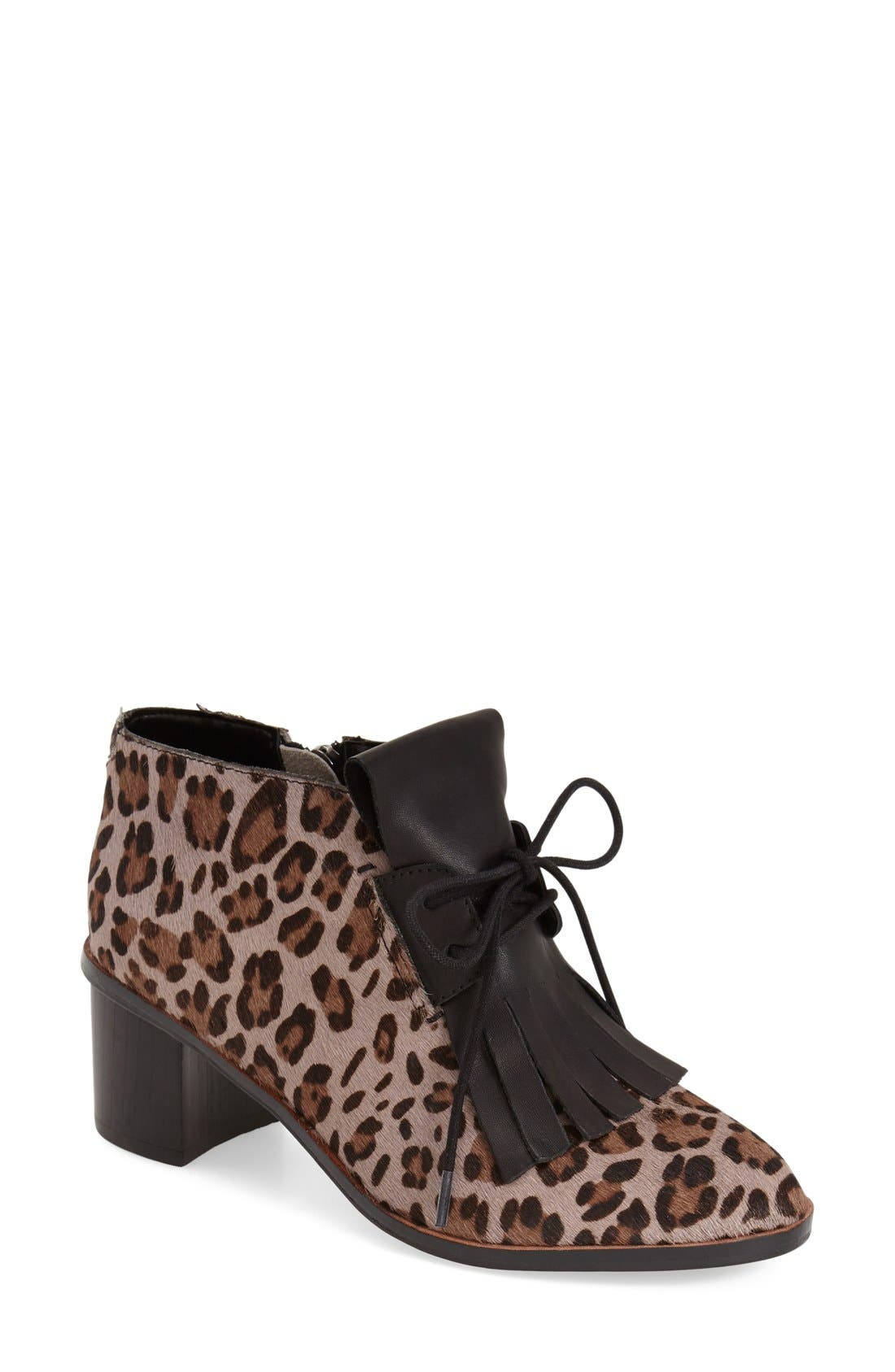 Alternate Image 1 Selected - French Connection 'Clair' Genuine Calf Hair Lace-Up Bootie (Women)