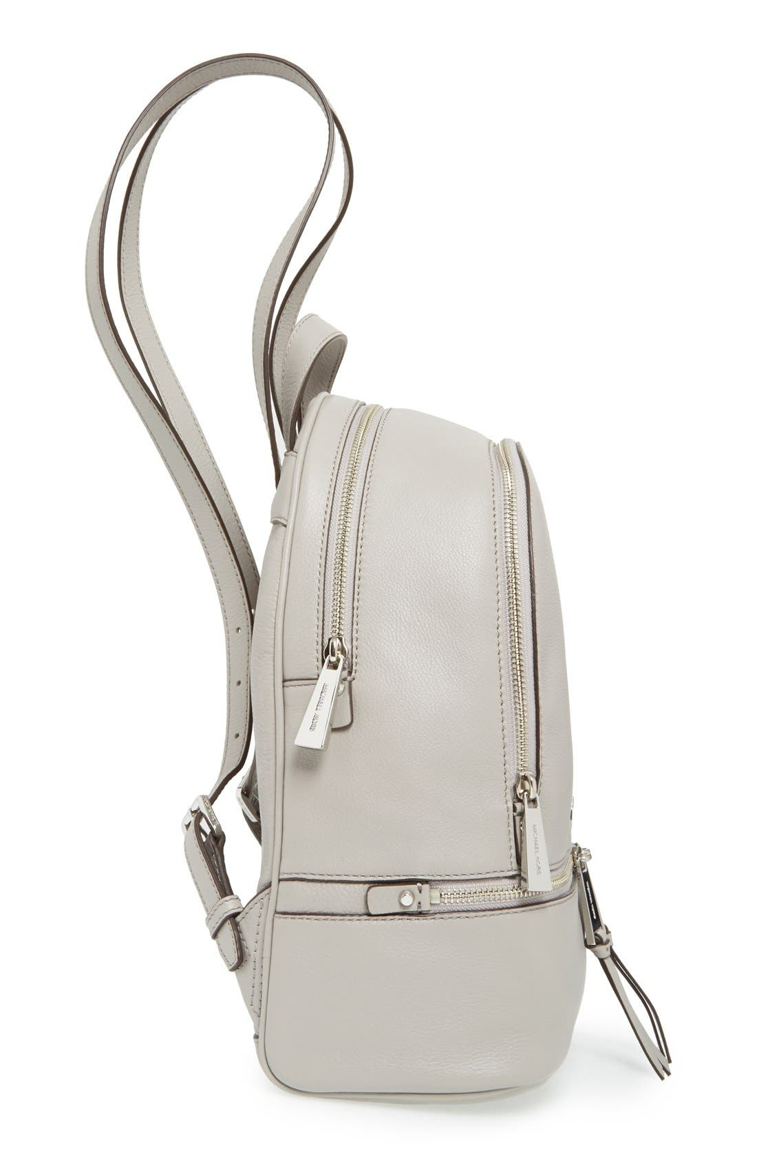 'Small Rhea Zip' Leather Backpack,                             Alternate thumbnail 4, color,                             Pearl Grey/ Silver