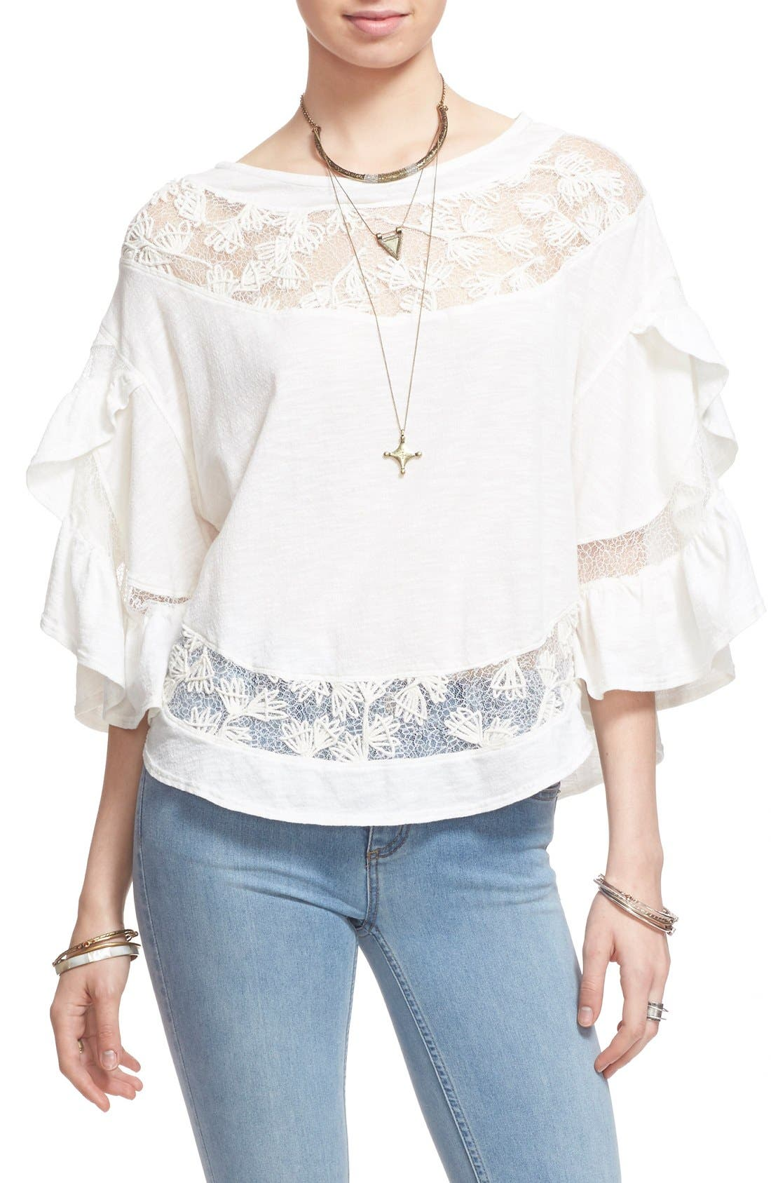 'Love Affair' Lace Inset Knit Top,                             Main thumbnail 1, color,                             Ivory