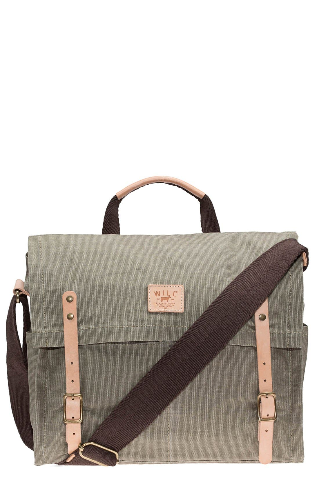 Alternate Image 1 Selected - Will Leather Goods Waxed Canvas Messenger Bag