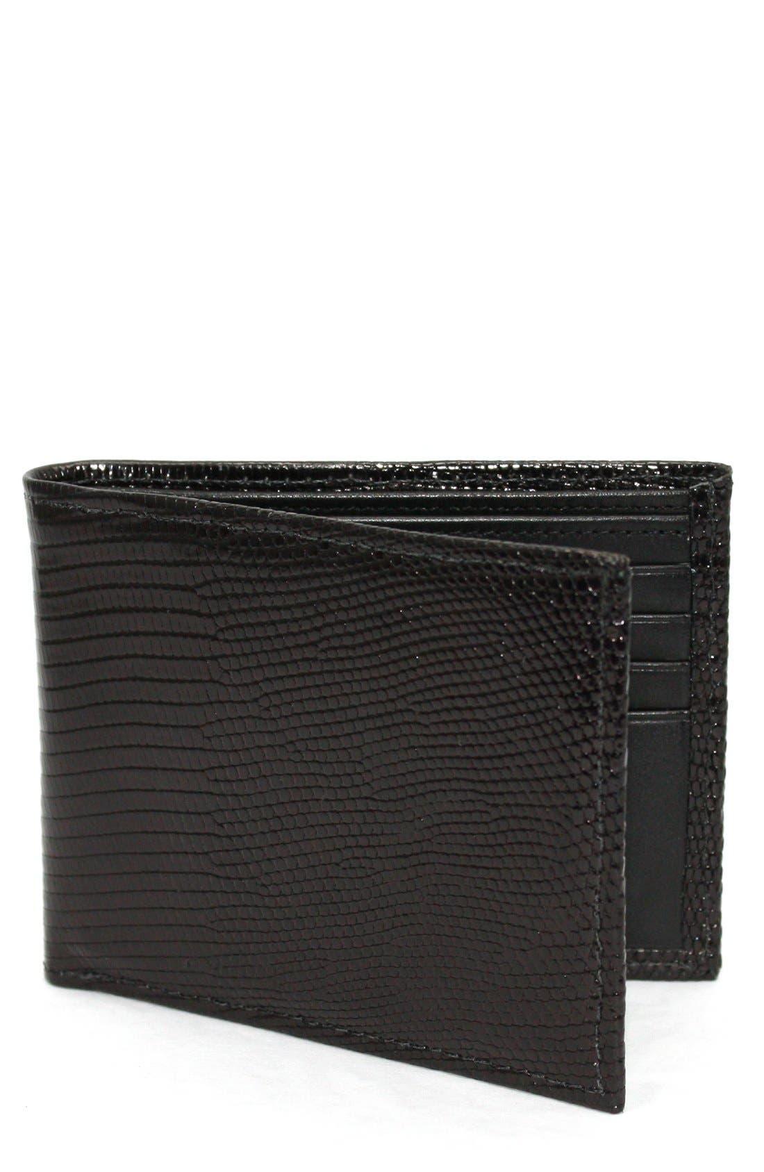 Genuine Lizard Wallet,                             Main thumbnail 1, color,                             Black