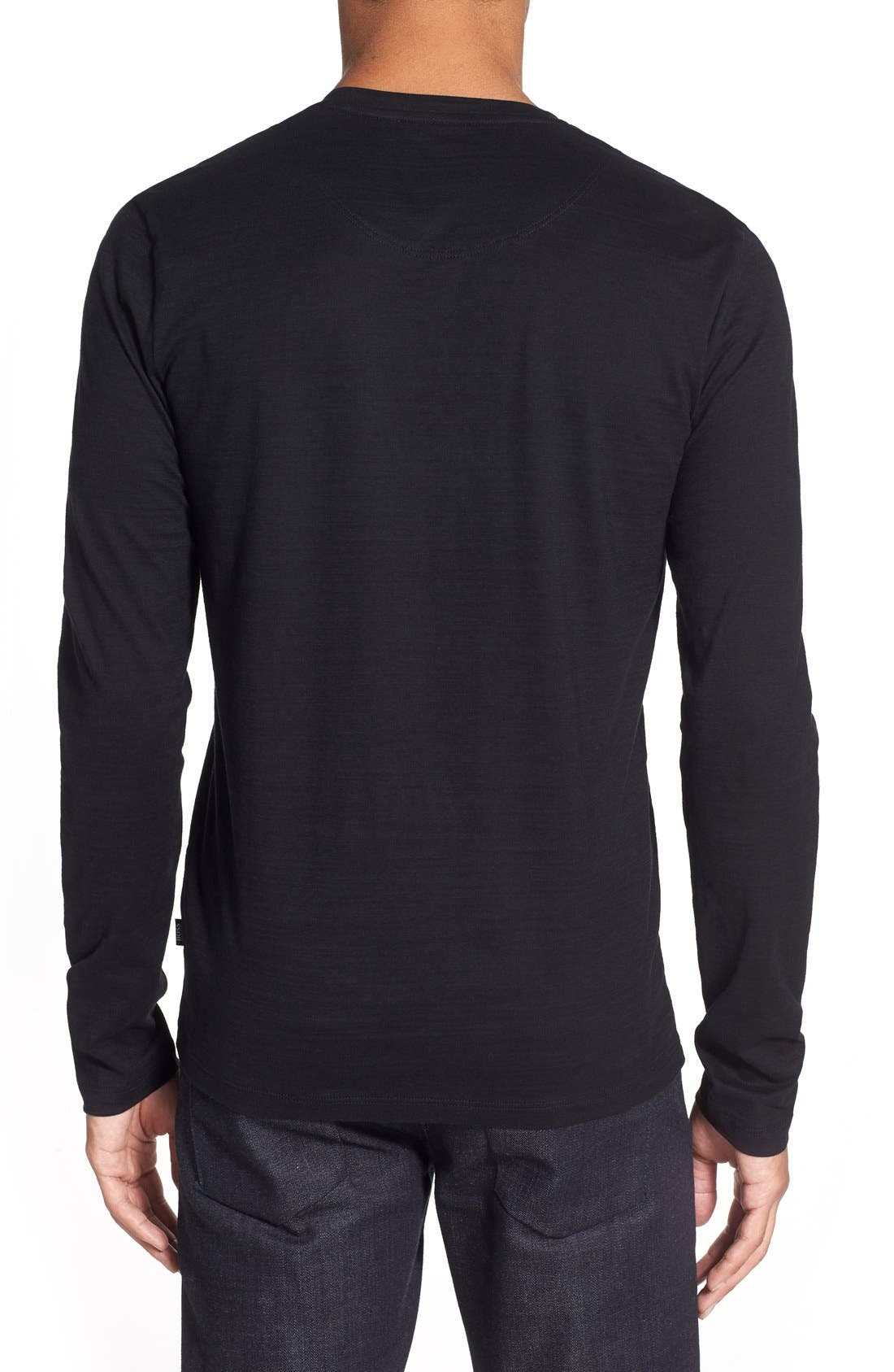 'Tyson' V-Neck Long Sleeve T-Shirt,                             Alternate thumbnail 2, color,                             Black