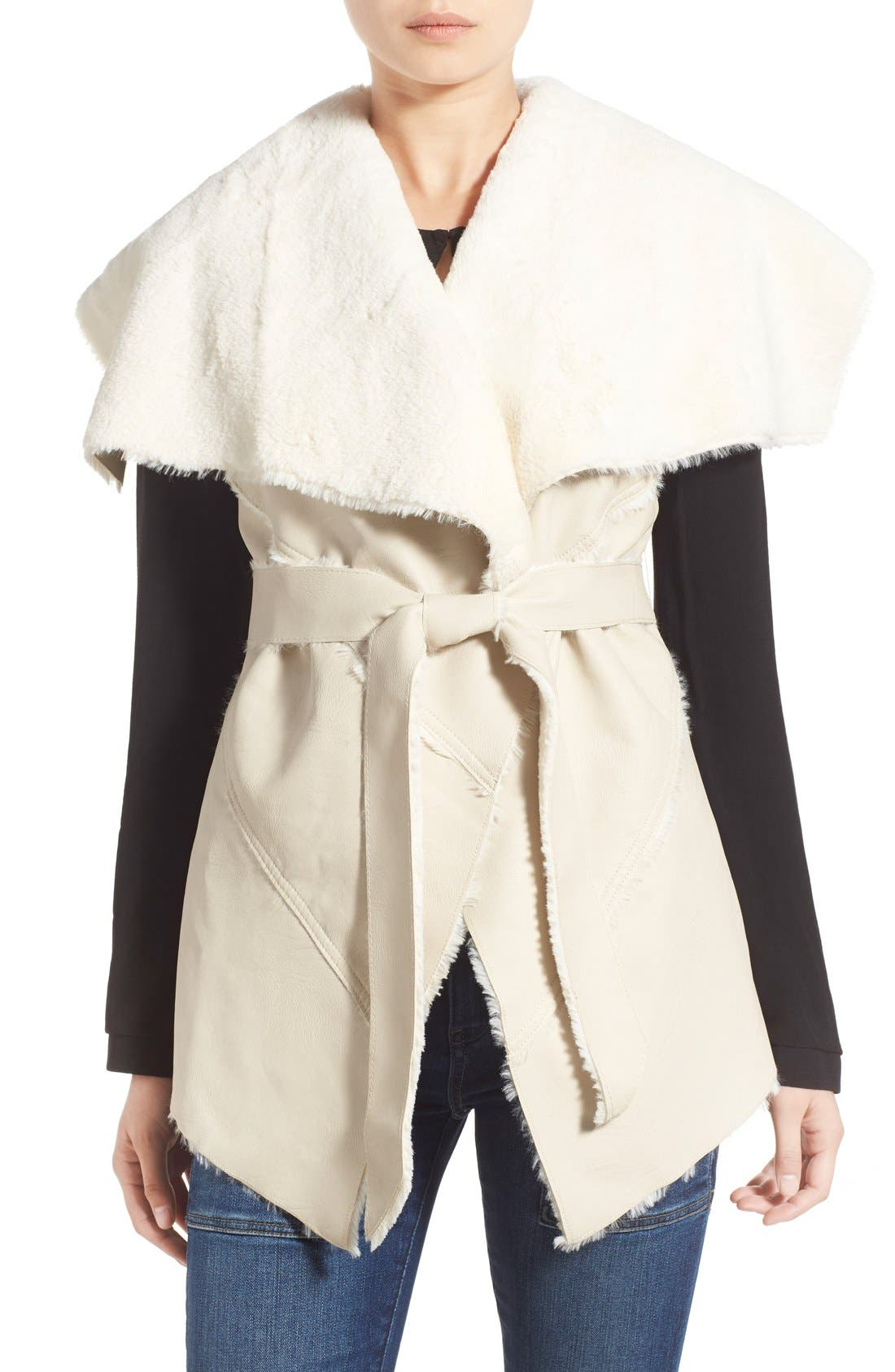 Main Image - BLANKNYC 'Trooper' Faux Shearling Wrap Vest