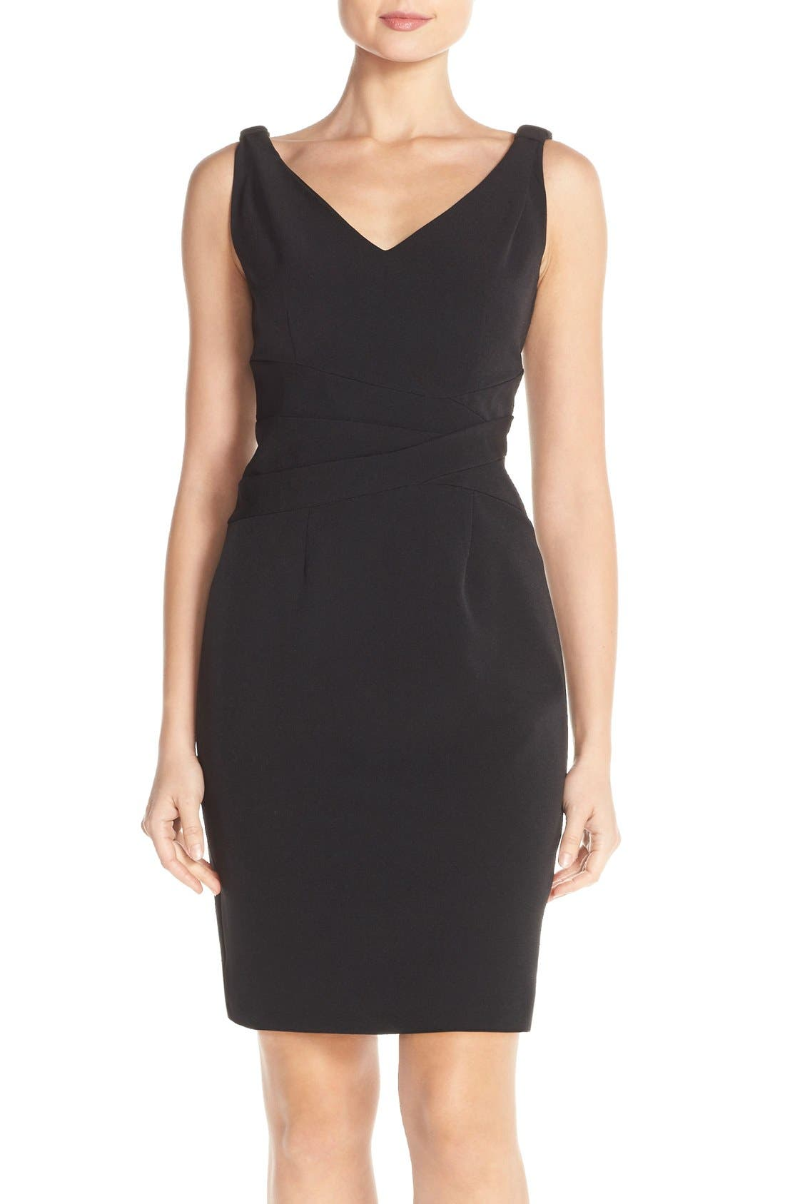 Main Image - Adrianna Papell Knot Shoulder Crepe Sheath Dress (Regular & Petite)