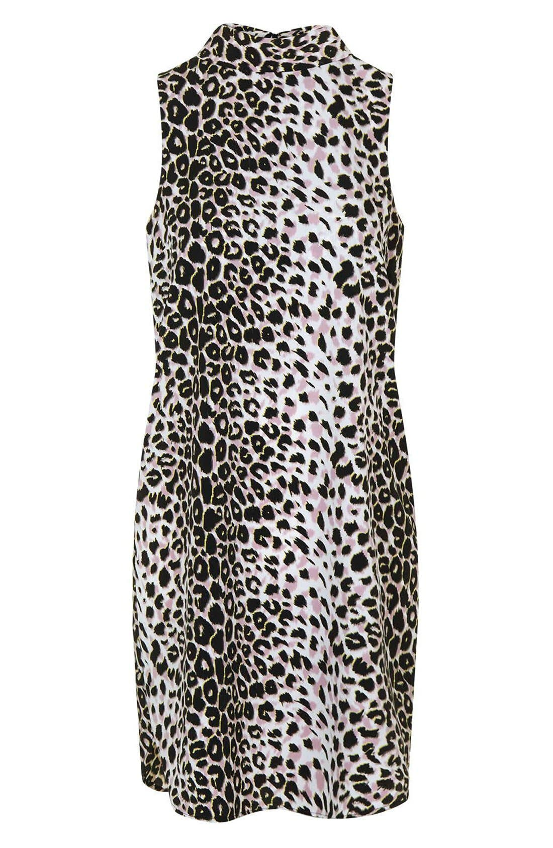Leopard Print Funnel Neck Tunic Dress,                             Alternate thumbnail 4, color,                             Grey Multi