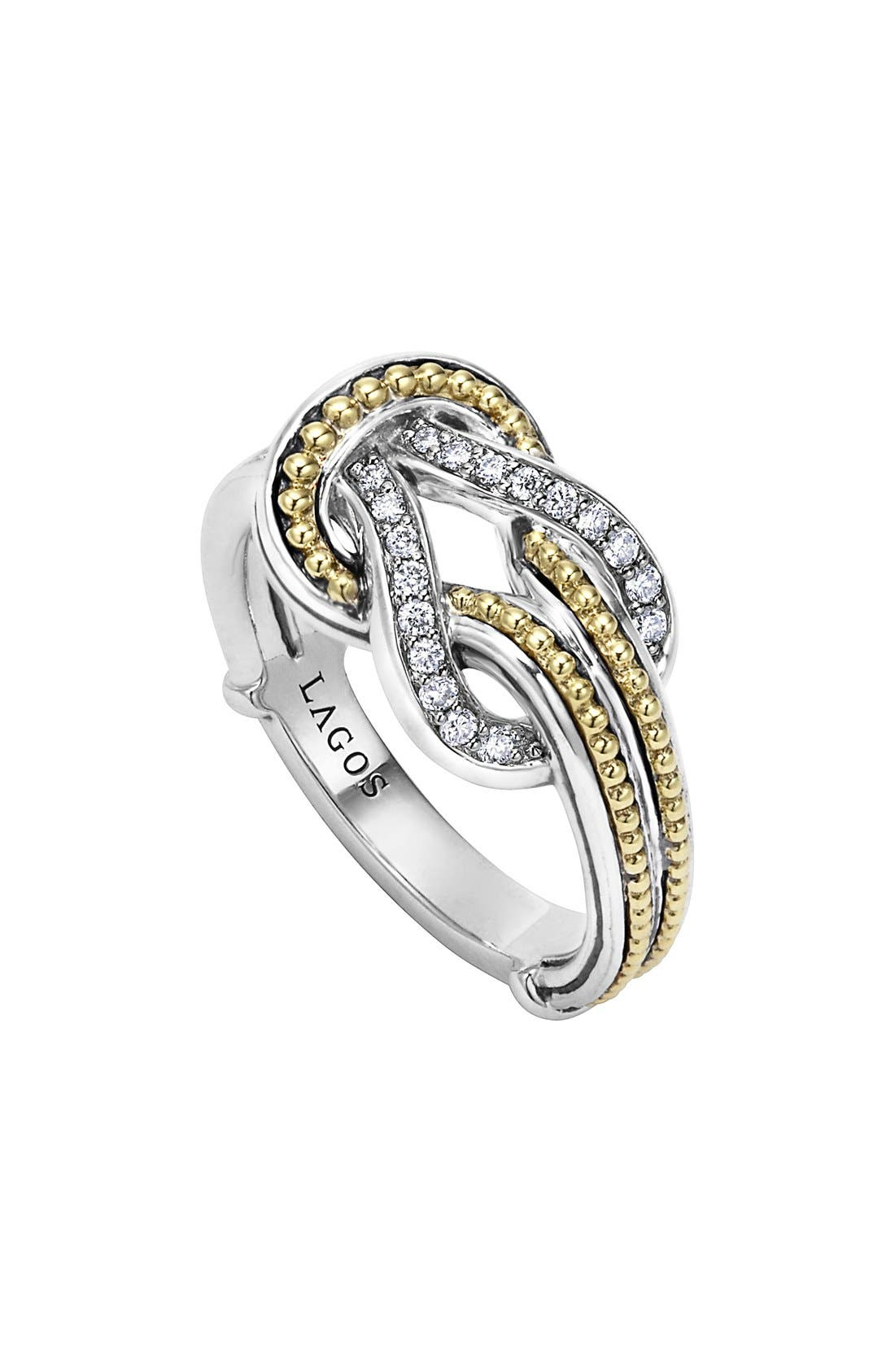 'Newport' Diamond Knot Ring,                         Main,                         color, Silver/ Gold