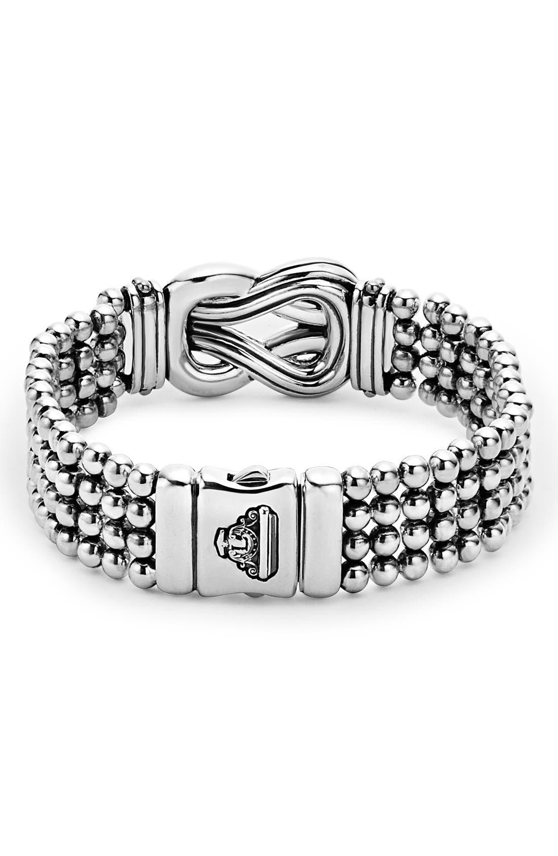 'Newport' Diamond Knot Flat Caviar Bracelet,                             Alternate thumbnail 3, color,                             Silver/ Gold