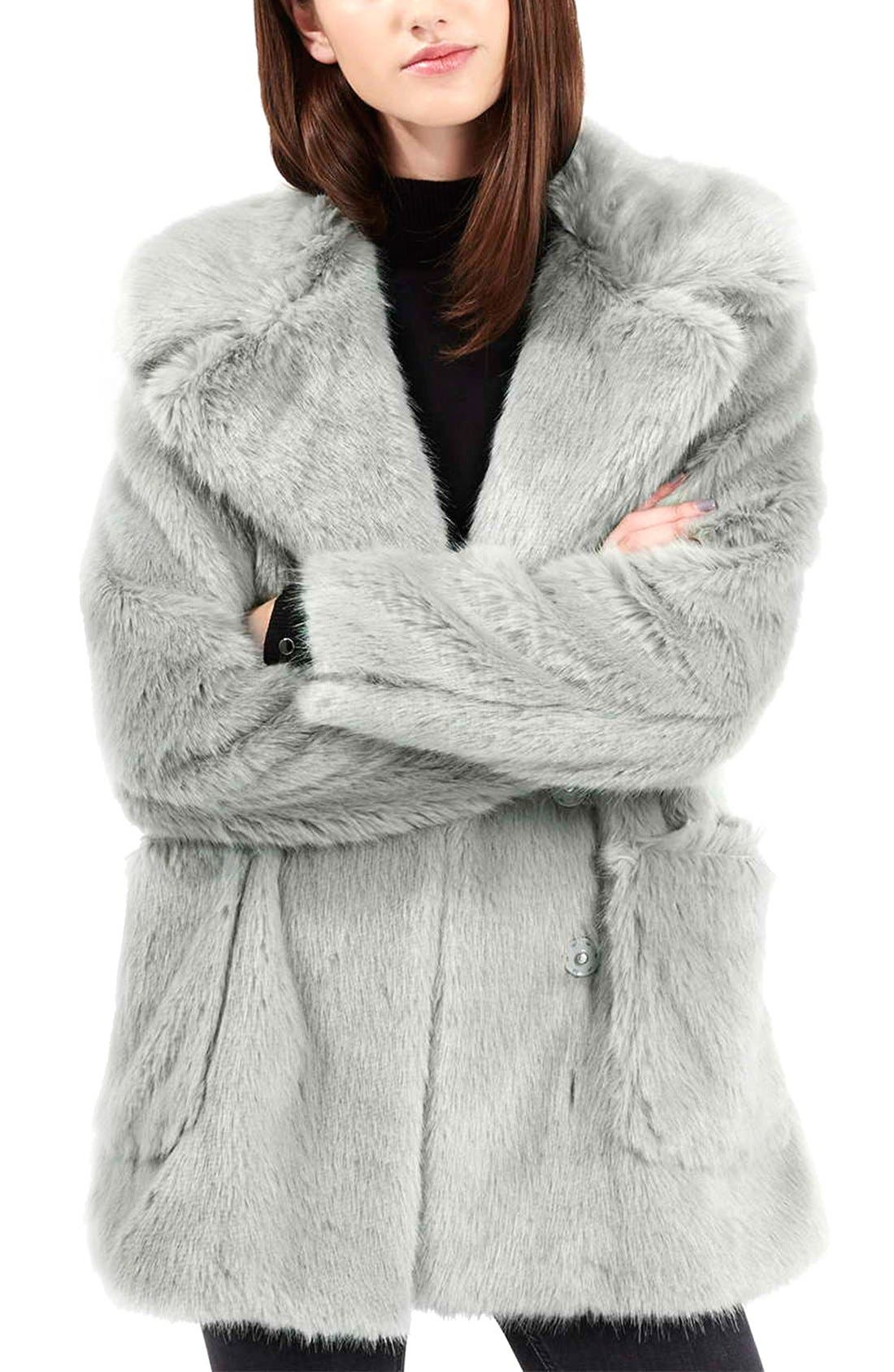 Main Image - Topshop 'Claire' Faux Fur Coat