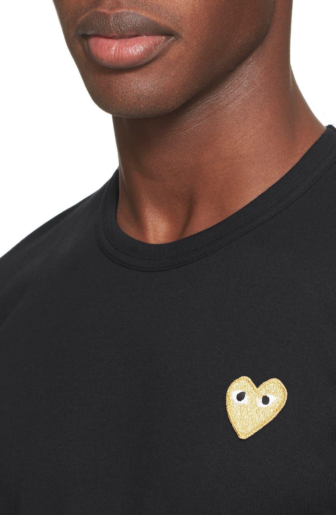 Comme des Garçons PLAY Crewneck T-Shirt,                             Alternate thumbnail 4, color,                             Black