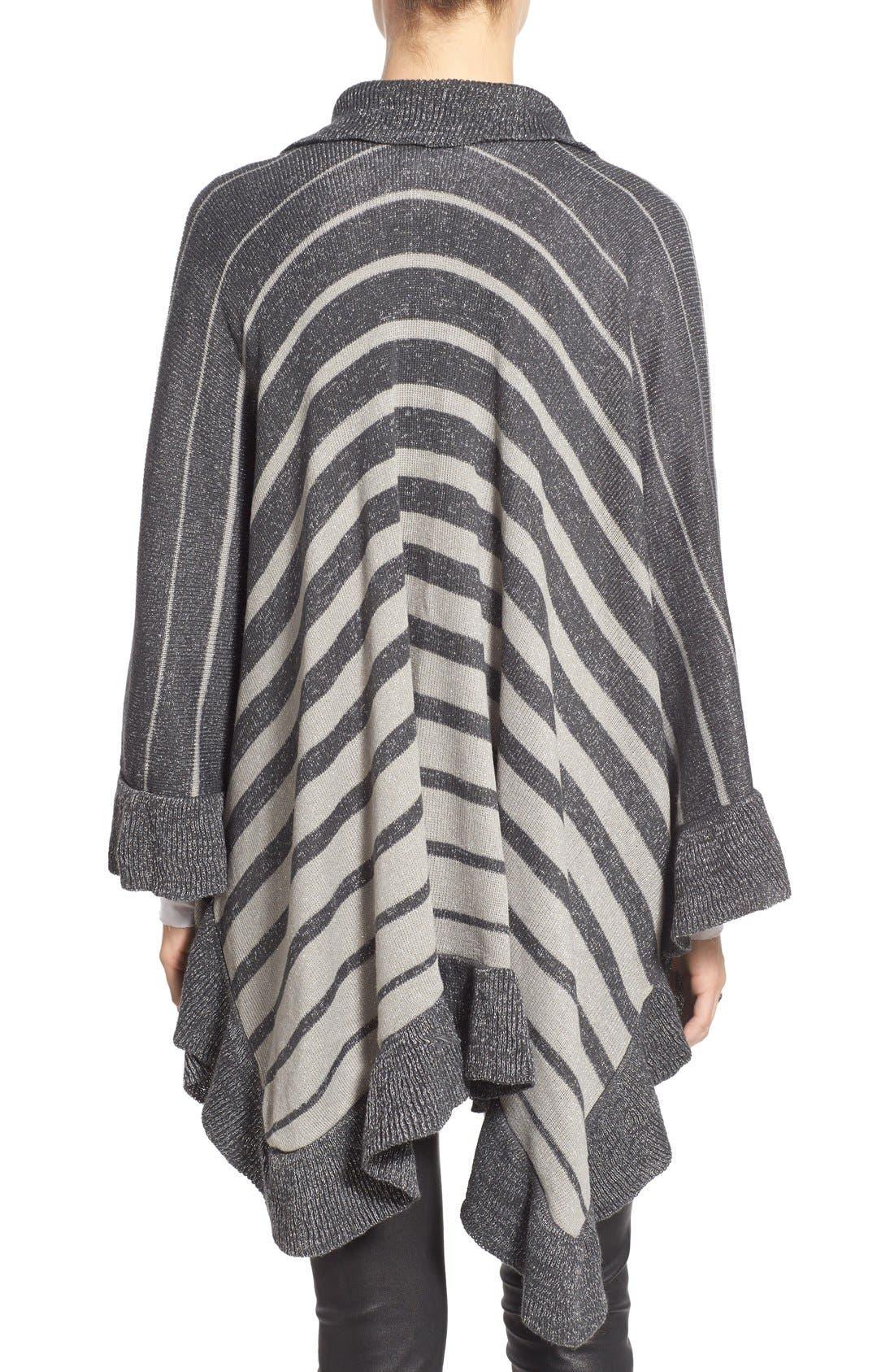Stripe Shawl,                             Alternate thumbnail 2, color,                             Grey/ Ivory