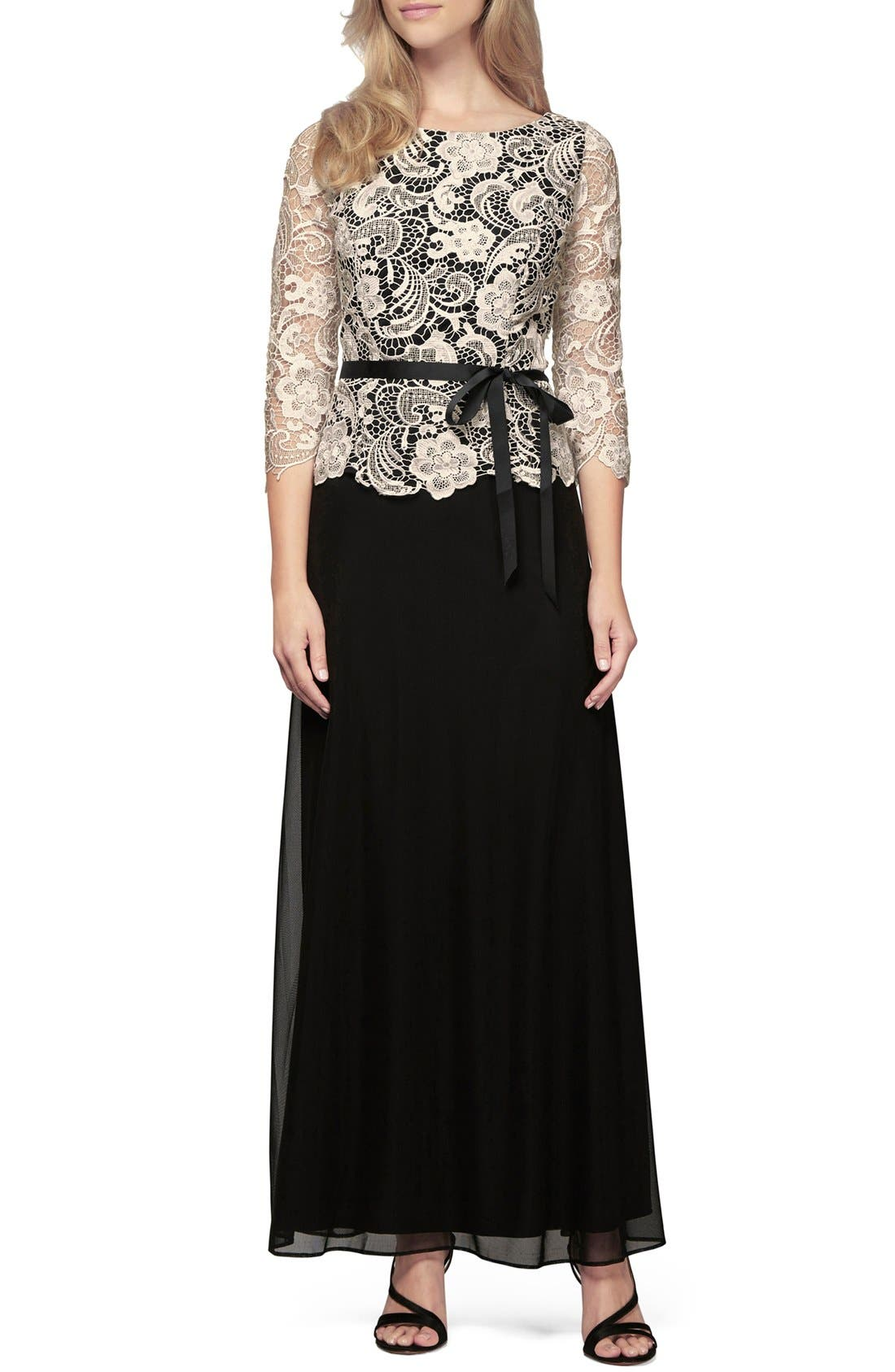 Mock Two-Piece A-Line Gown,                             Main thumbnail 1, color,                             Black/ Champagne