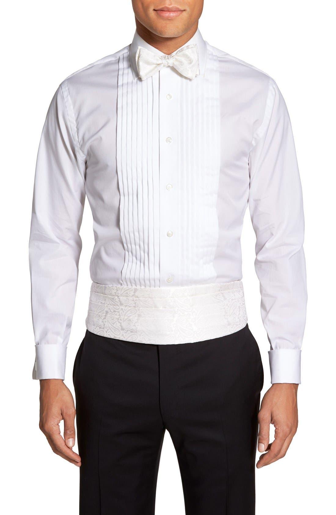 'Protocol' Paisley Silk Cummerbund & Bow Tie Set,                         Main,                         color, White