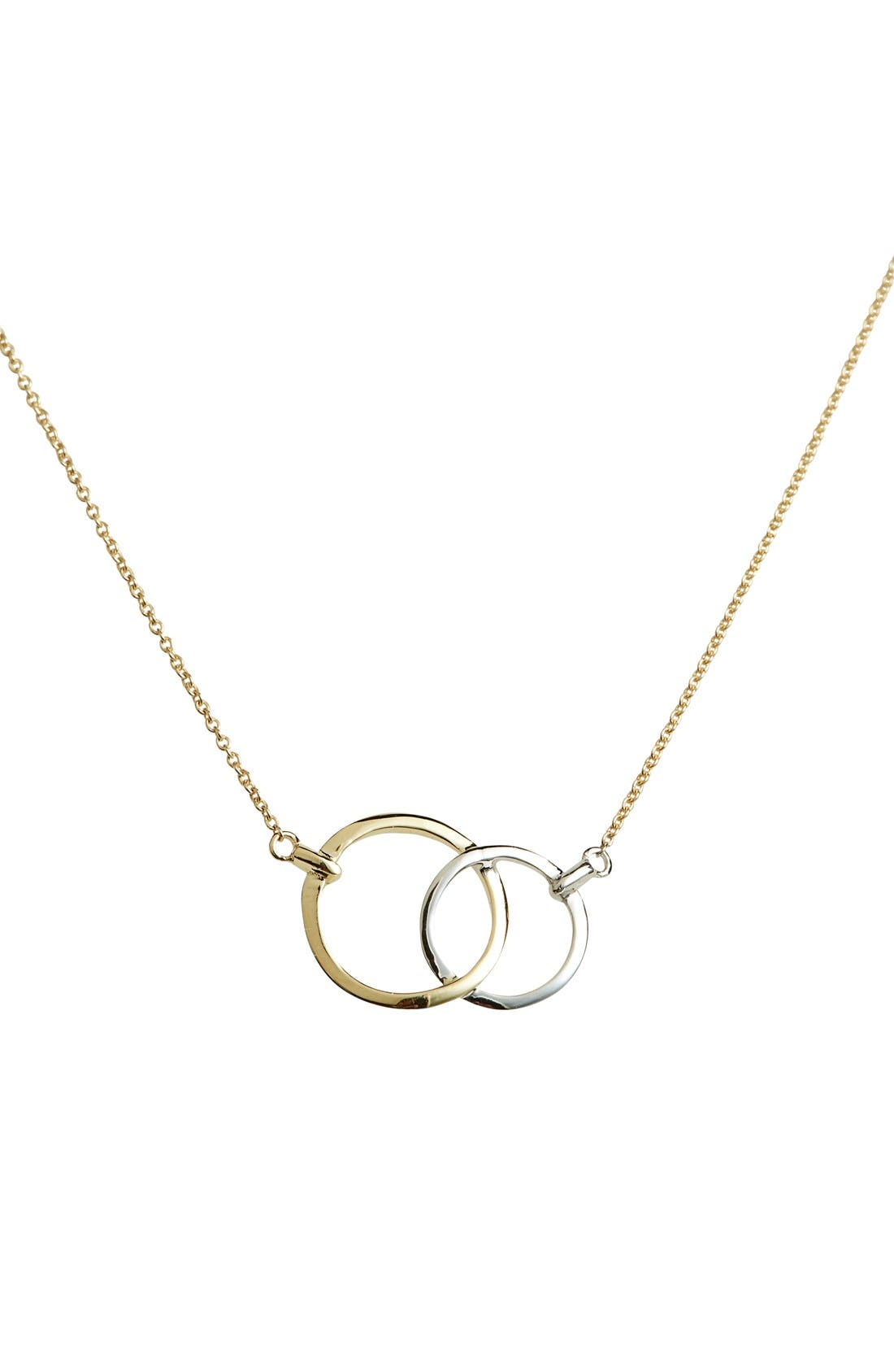 Double Circle Pendant Necklace,                             Main thumbnail 1, color,                             Yellow Gold/ White Gold