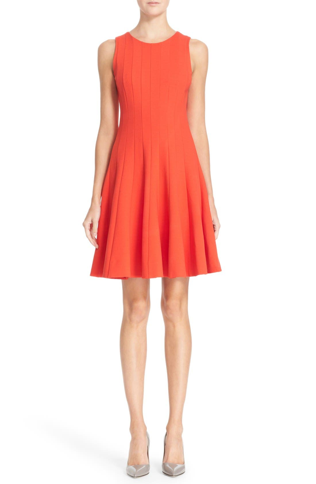 Main Image - kate spade new york pleated ponte fit & flare dress