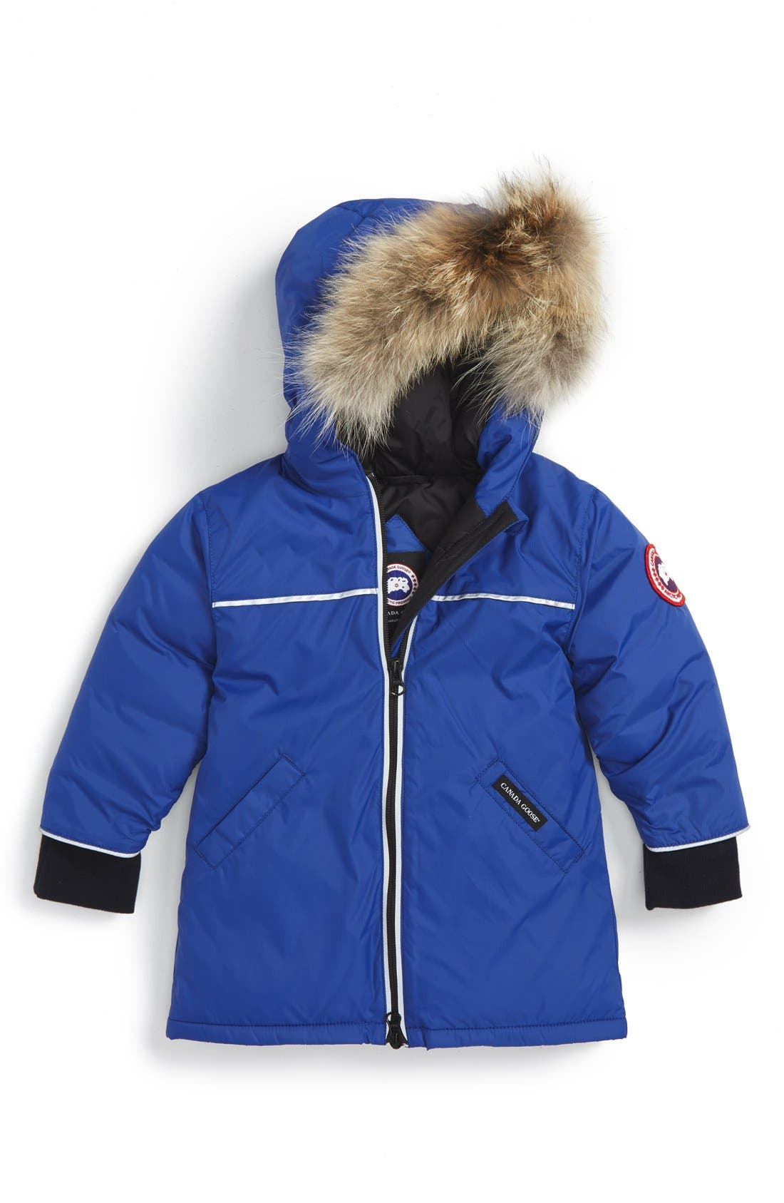 'Reese' Down Jacket with Genuine Coyote Fur Trim,                         Main,                         color, Pacific Blue