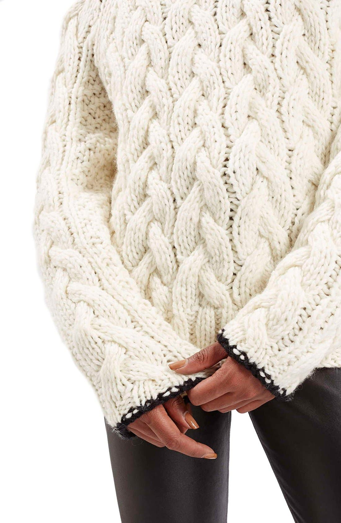 Alternate Image 4  - Topshop Boutique Chunky Cable Knit Sweater