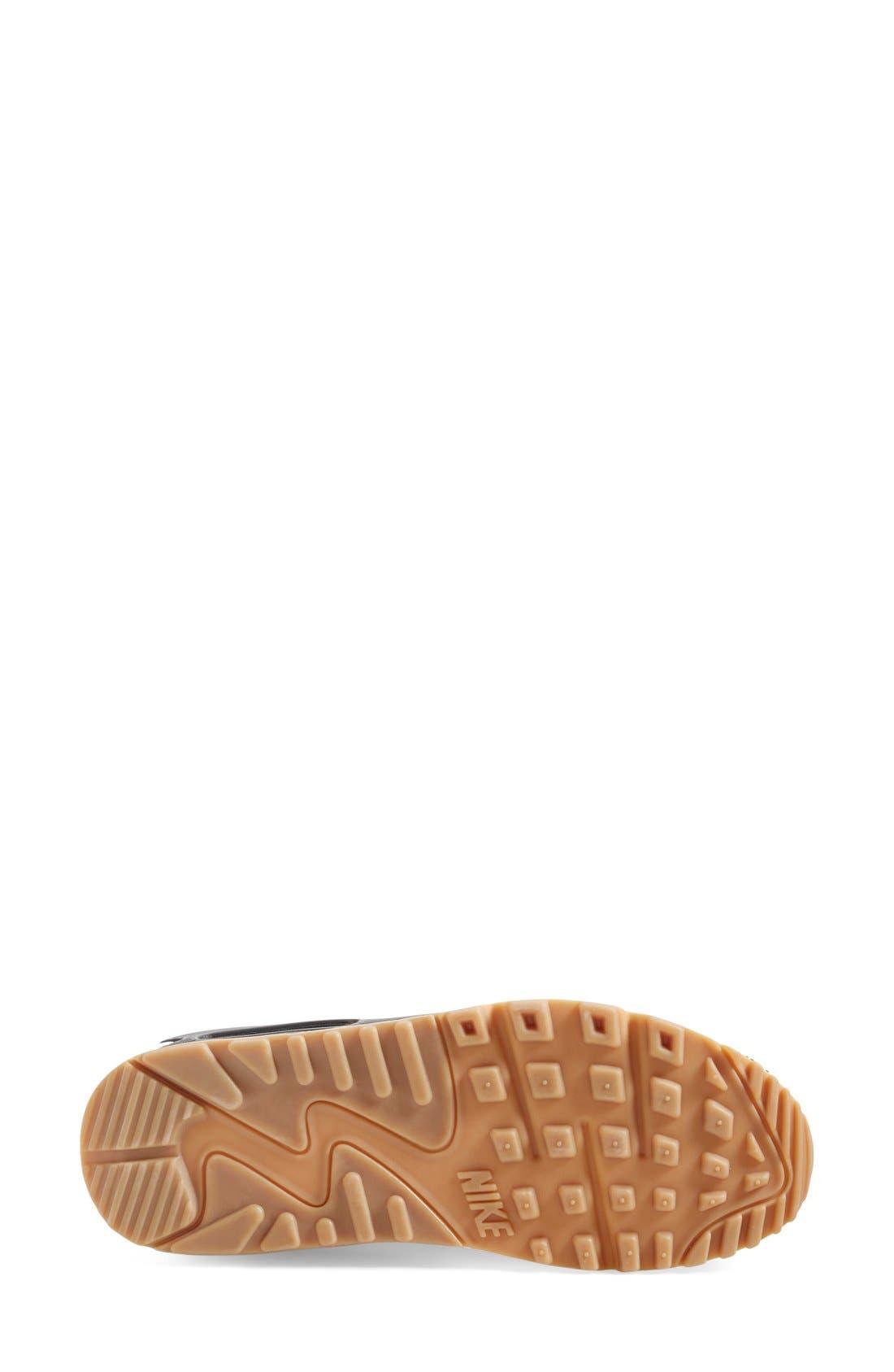 'Air Max 90 - Premium' Sneaker,                             Alternate thumbnail 4, color,                             White/ Black/ Brown