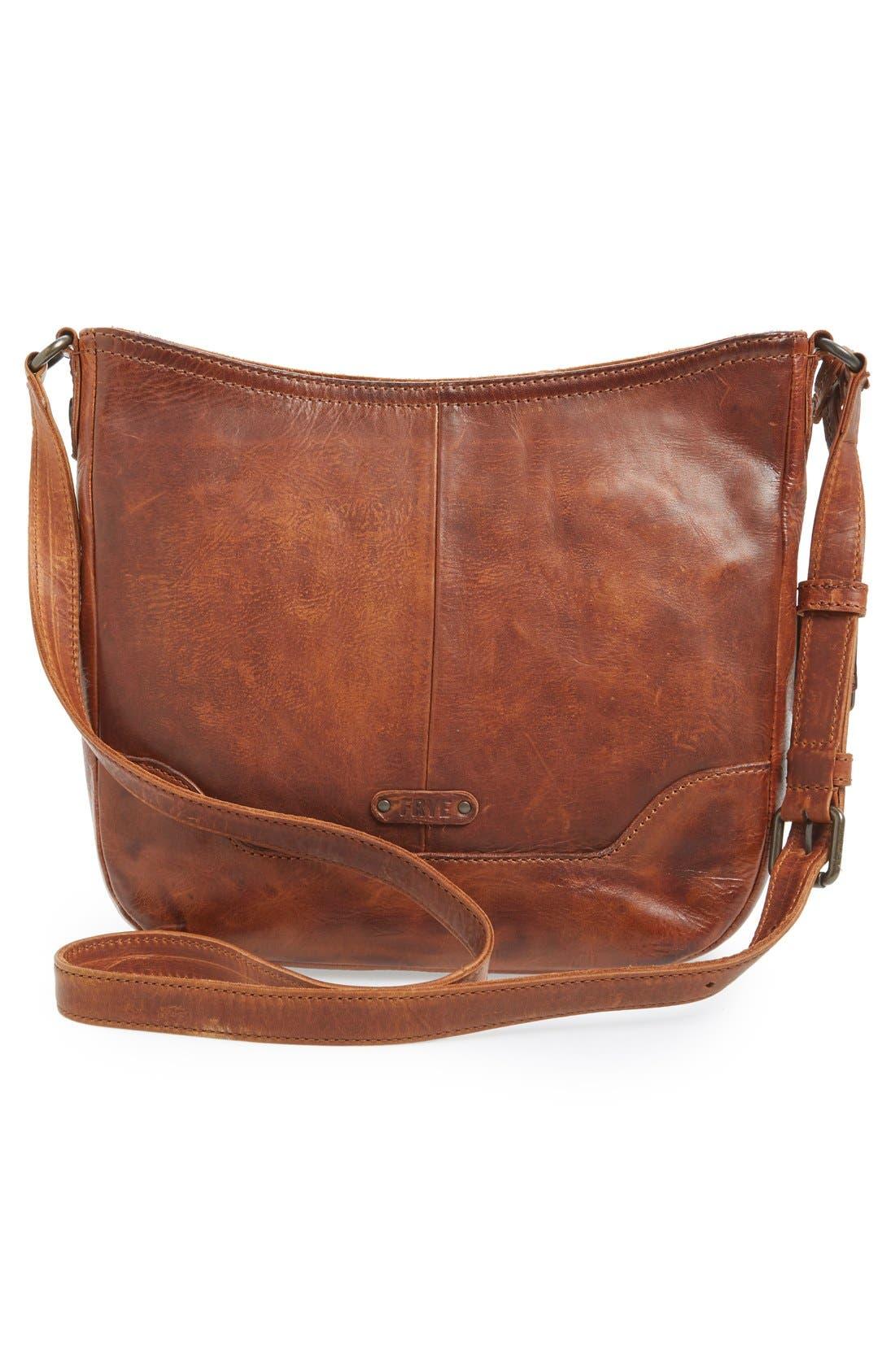 Melissa Button Crossbody Bag,                             Alternate thumbnail 3, color,                             Cognac