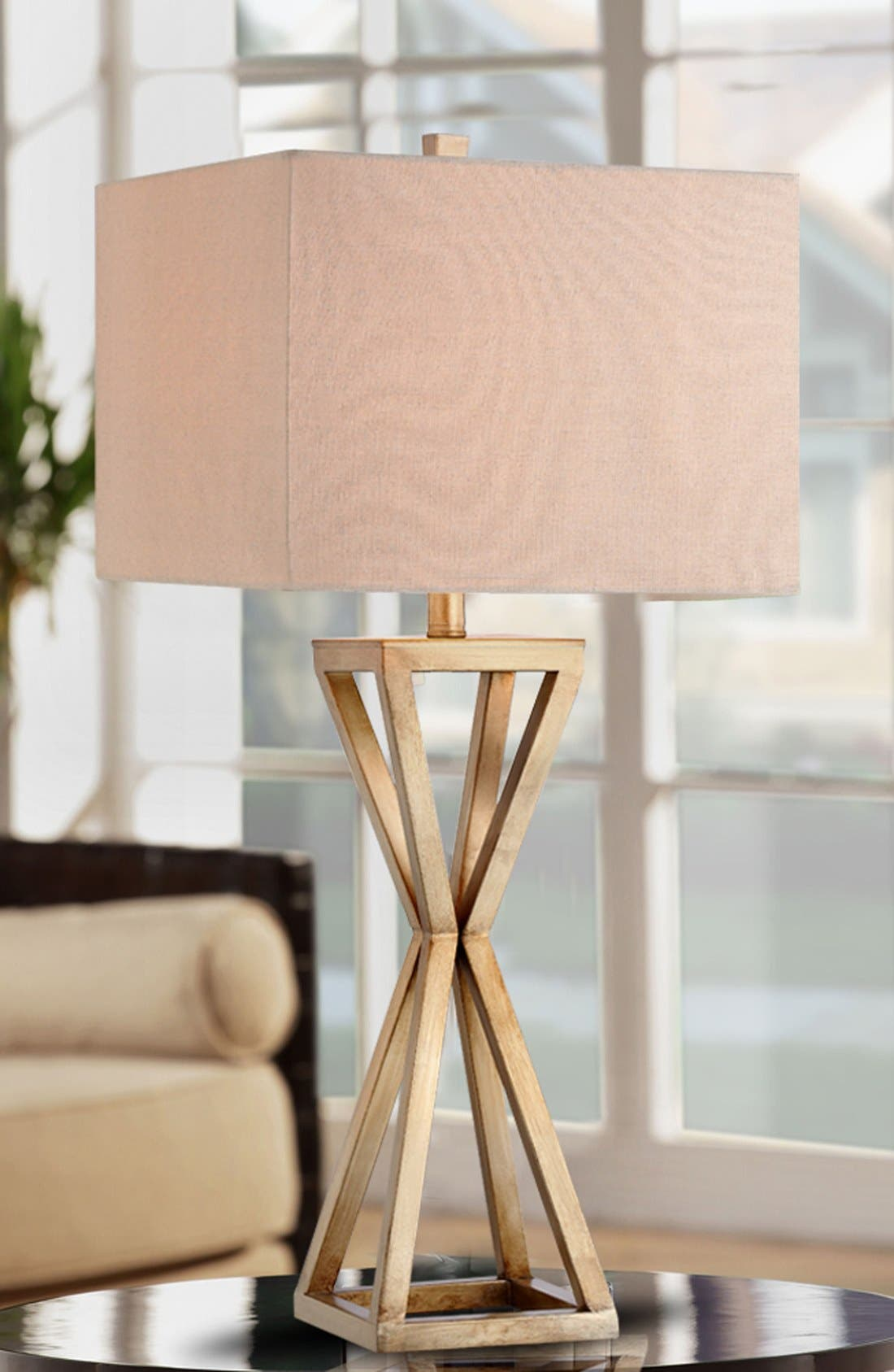 Open Caged Metal Table Lamp,                             Alternate thumbnail 2, color,                             Gold