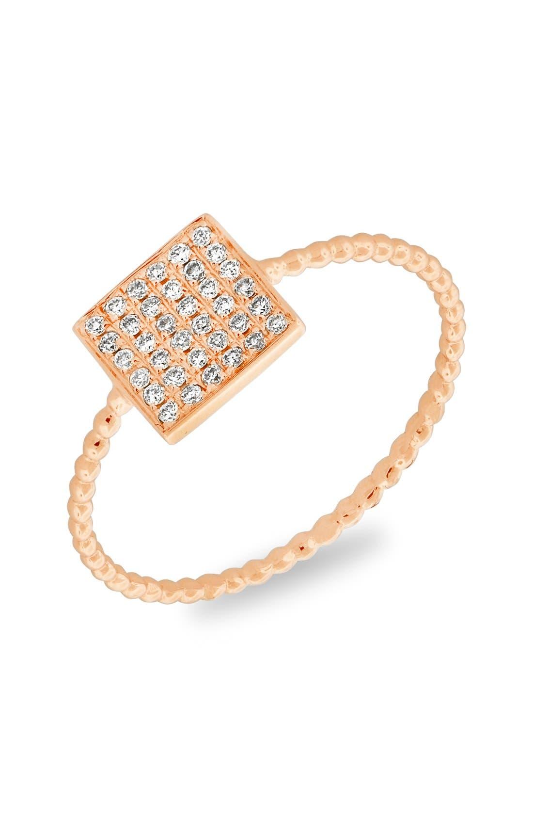 Aurora Diamond Pavé Square Ring,                         Main,                         color, Rose Gold